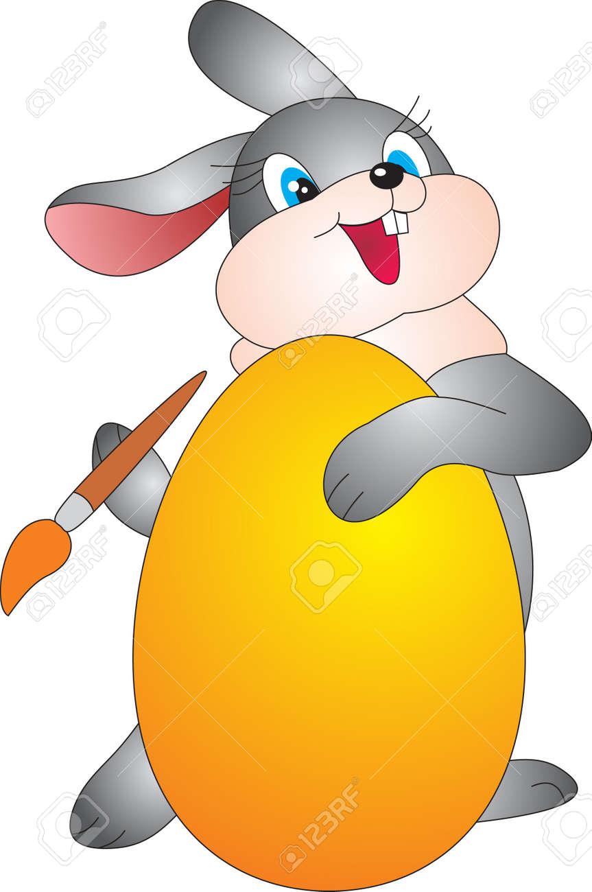 Egg and Rabbit. Easter Illustration Stock Photo - 9353970