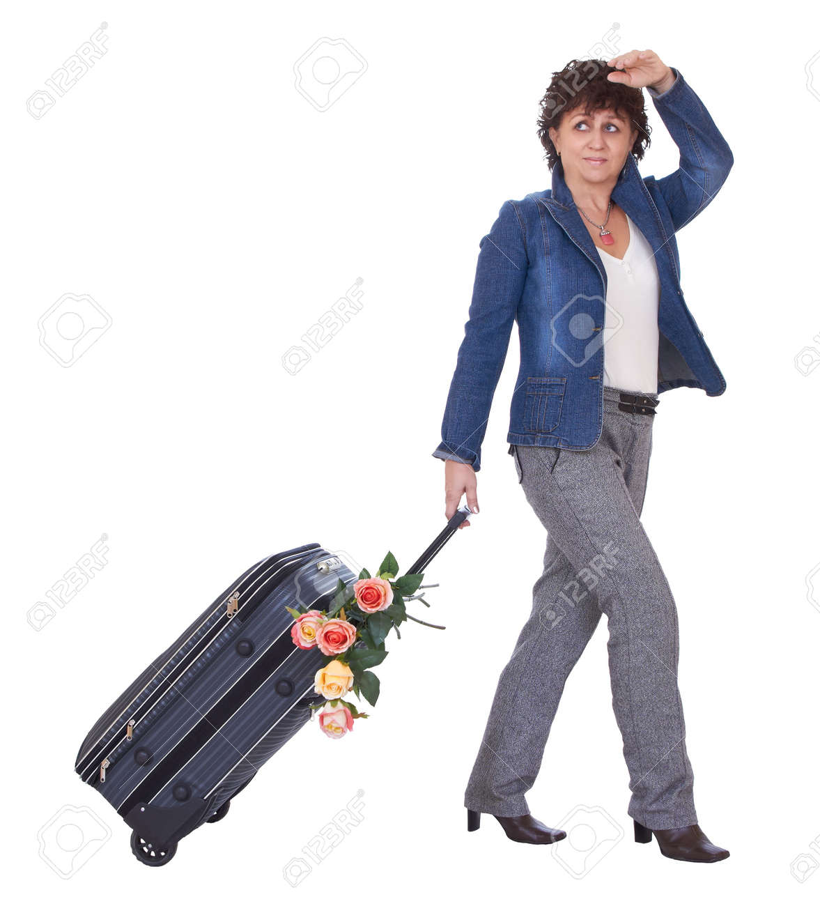 Cute Adult Woman With Luggage Is Waiting A Train Stock Photo ...