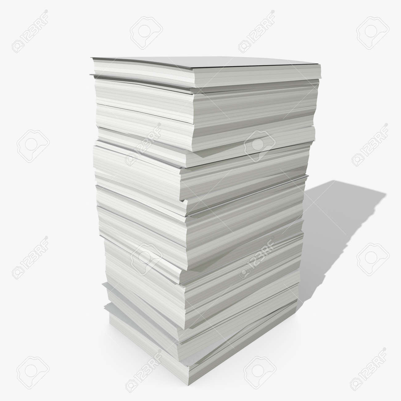 3d illustration of a stack of paper stock photo, picture and royalty