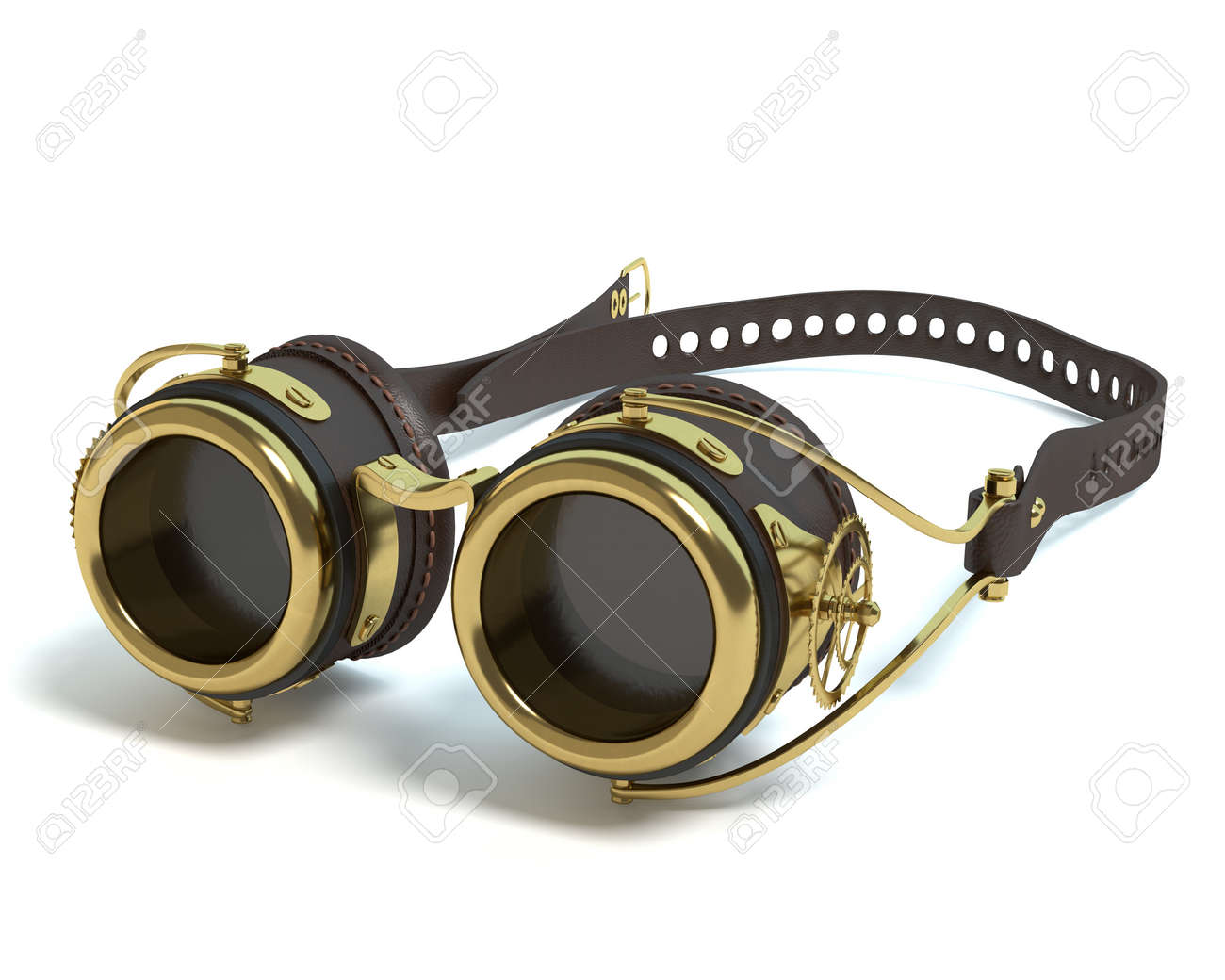 a521a789b10 3d illustration of steampunk goggles Stock Illustration - 57873100