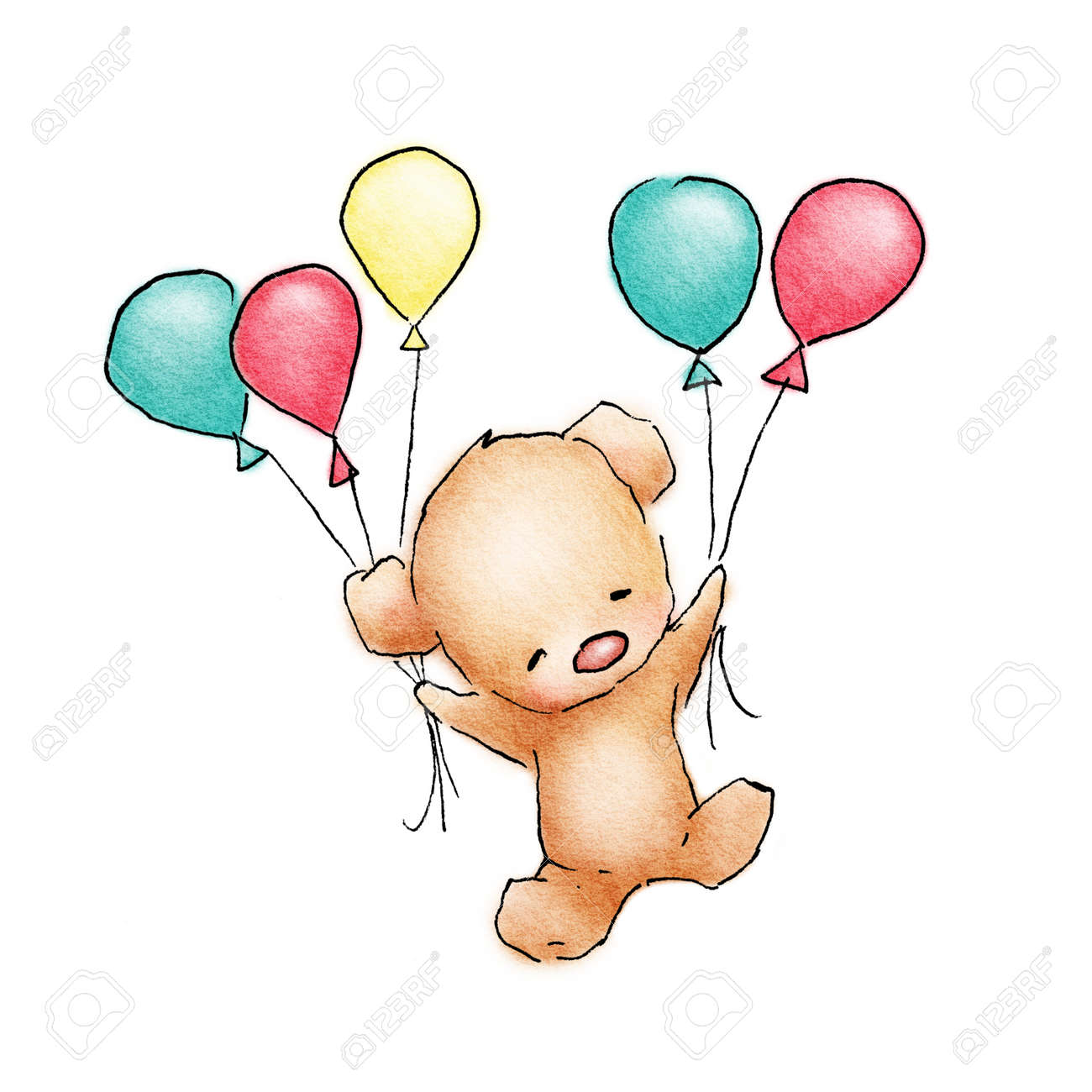 Baby Bear Flying With Colorfull Balloons