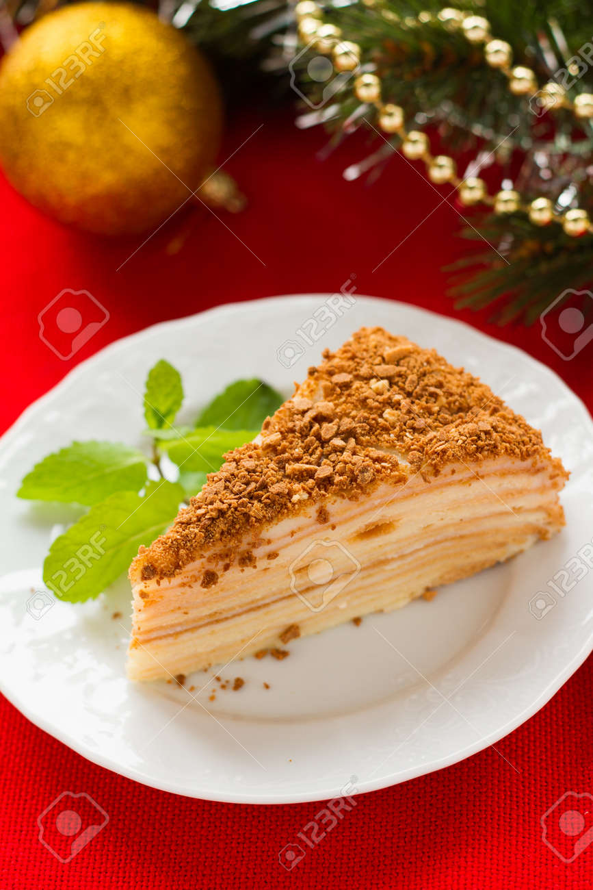 Napoleon cake for Christmas and New Year celebration Stock Photo - 15802197