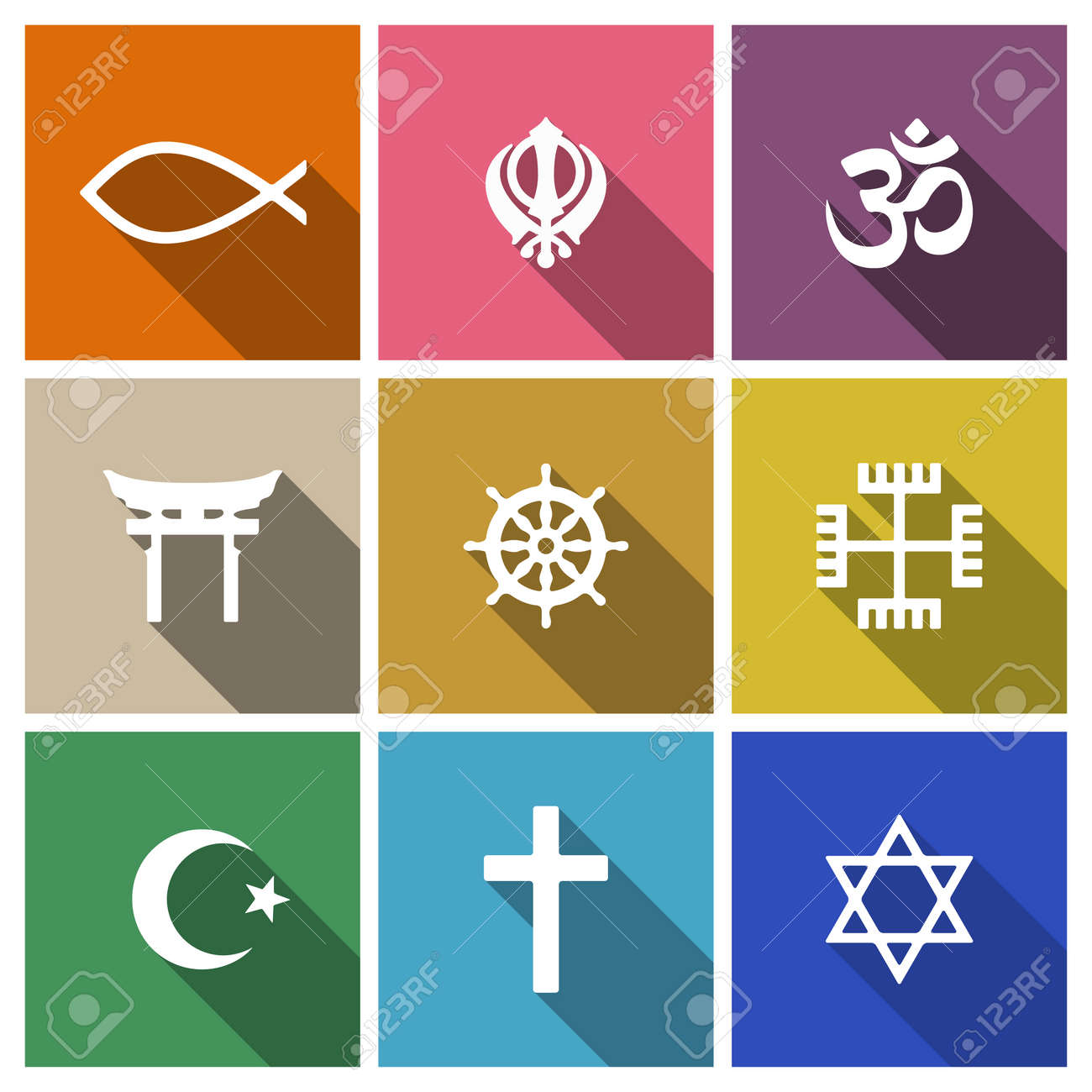 World religion symbols flat set with christian jewish islam world religion symbols flat set with christian jewish islam etc stock vector 43849917 buycottarizona