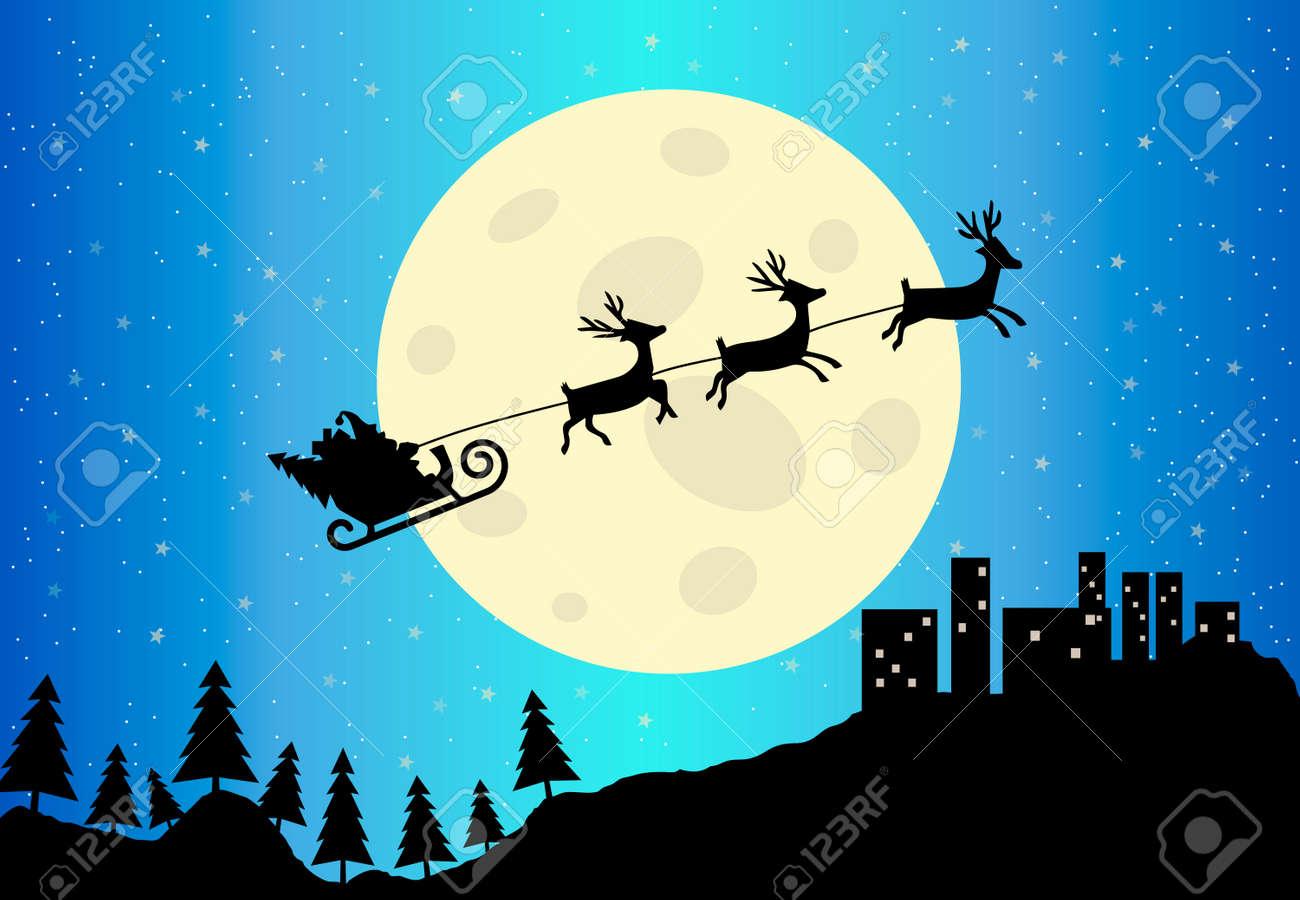 Immagini Slitta Di Babbo Natale.Vettoriale Slitta Di Babbo Natale Alla Citta Scape E Illustrazione Vettoriale Luna Image 44372082