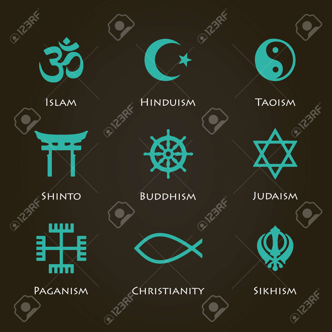 World religion symbols cyan color set with christian jewish world religion symbols cyan color set with christian jewish islam etc stock vector biocorpaavc