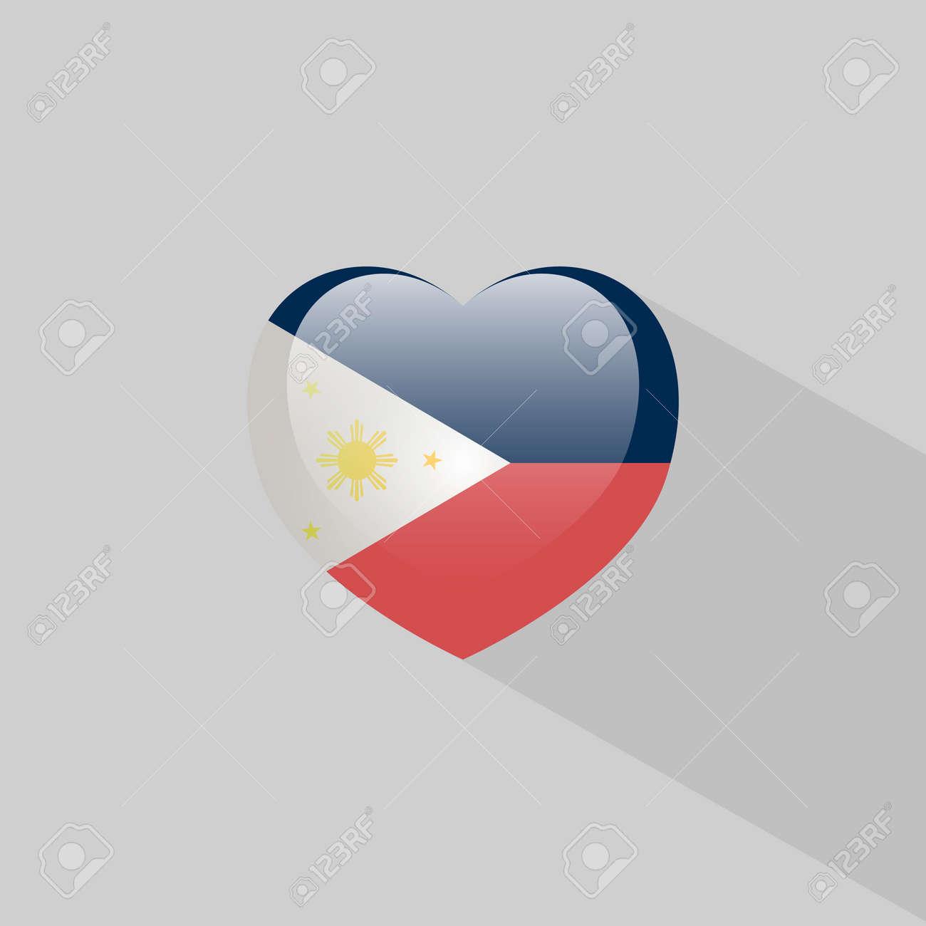Love Philippines Symbol Heart Flag Icon Vector Illustration