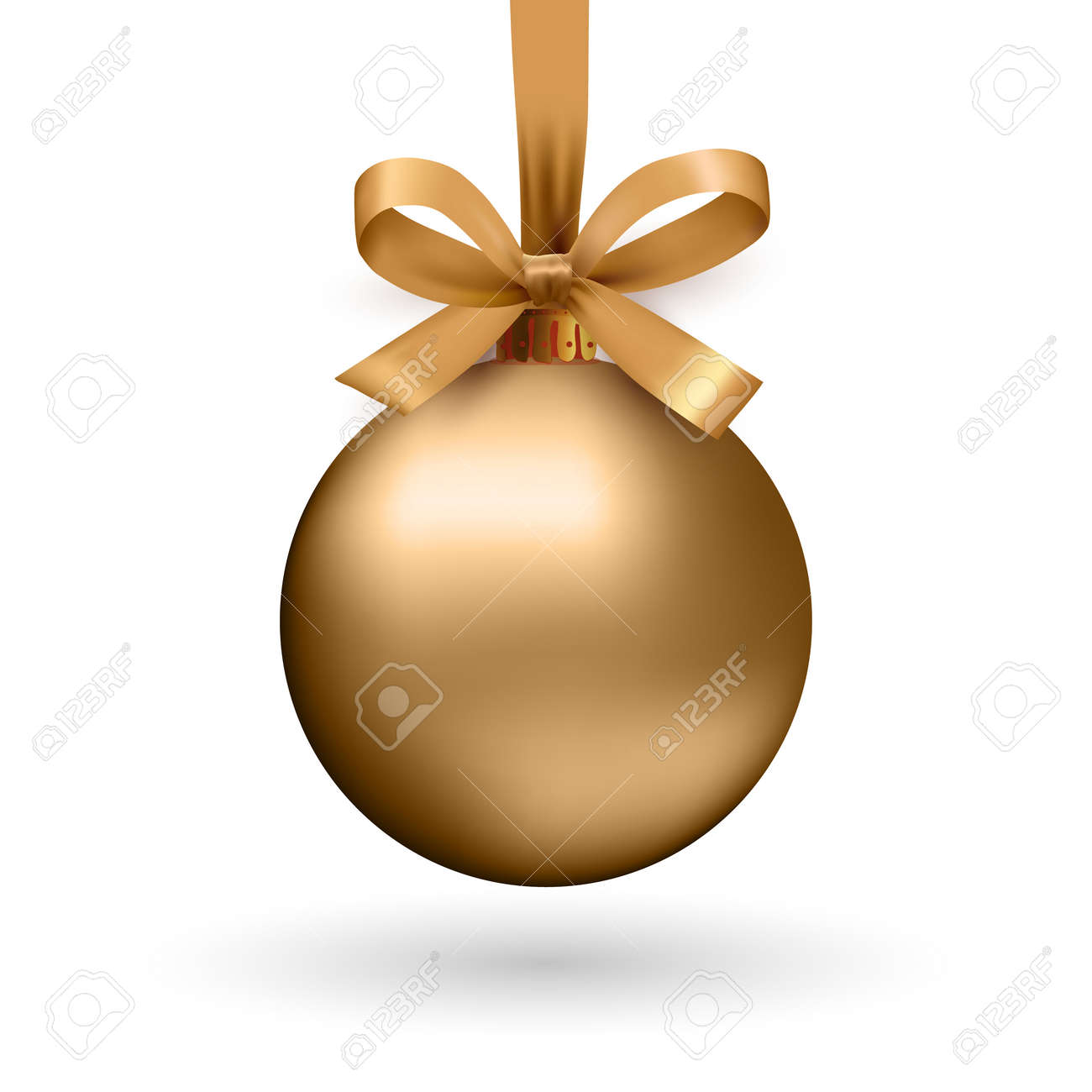 Gold Christmas ball with ribbon and a bow, isolated on white background. Vector illustration. - 48038625