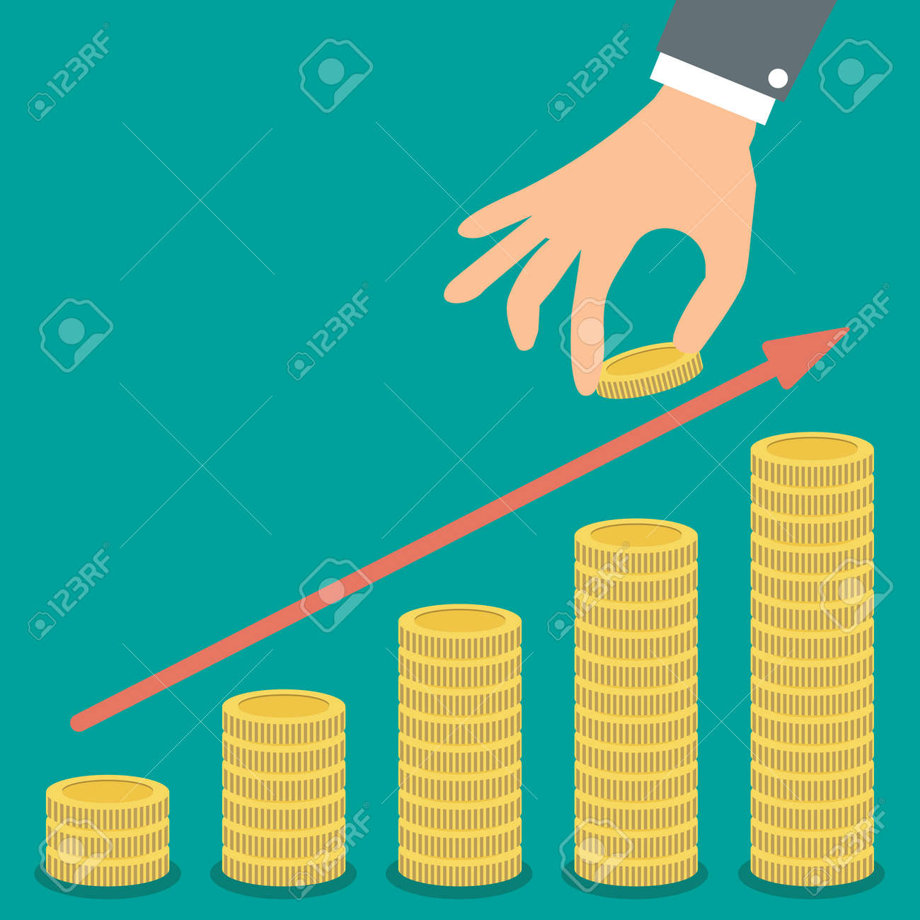 Buisness man hand hold gold coin and growth stacks with coins with red arrow on green backgound illustration in flat design. infographics web design elements - 48468945