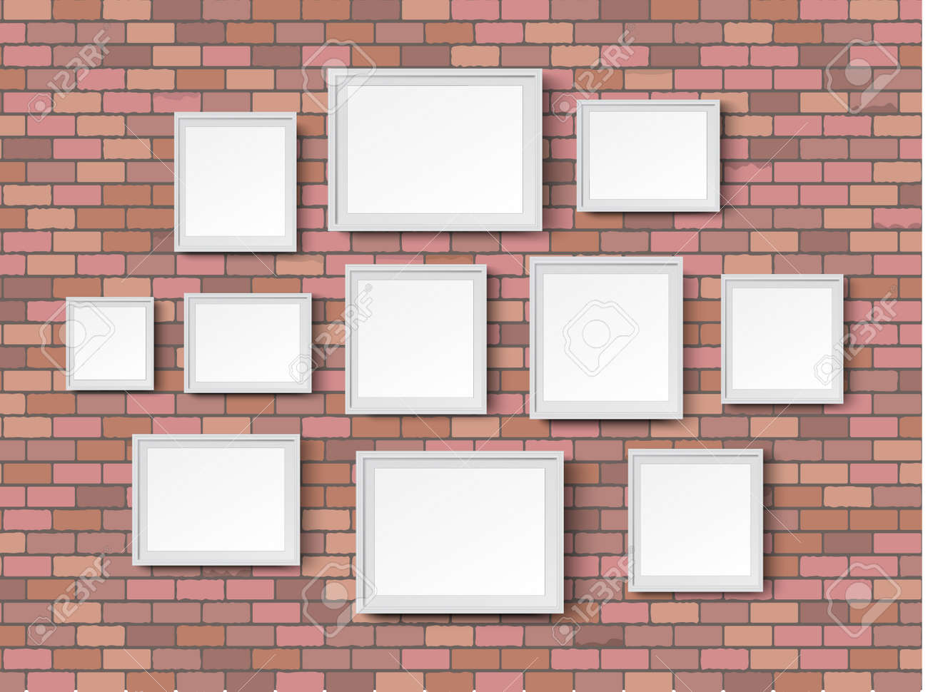 illustration various sizes picture photo frames on red bricks wall background illustration