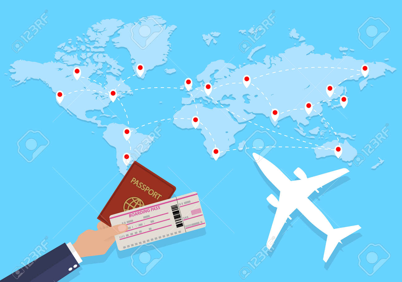 Carte Du Monde Avec Des Itinéraires Avion Et La Main Avec Passeport Et Billet Illustration Design Plat Concept De Voyage
