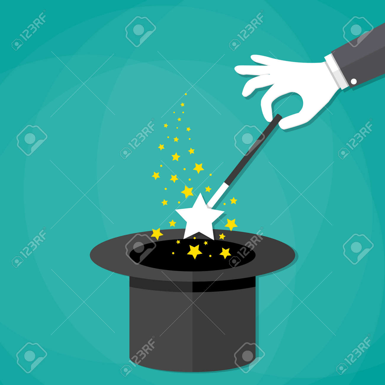 Black gloves white magic - Cartoon Magicians Hands In White Gloves Holding A Magic Wand With Stars Sparks Above Black Magic