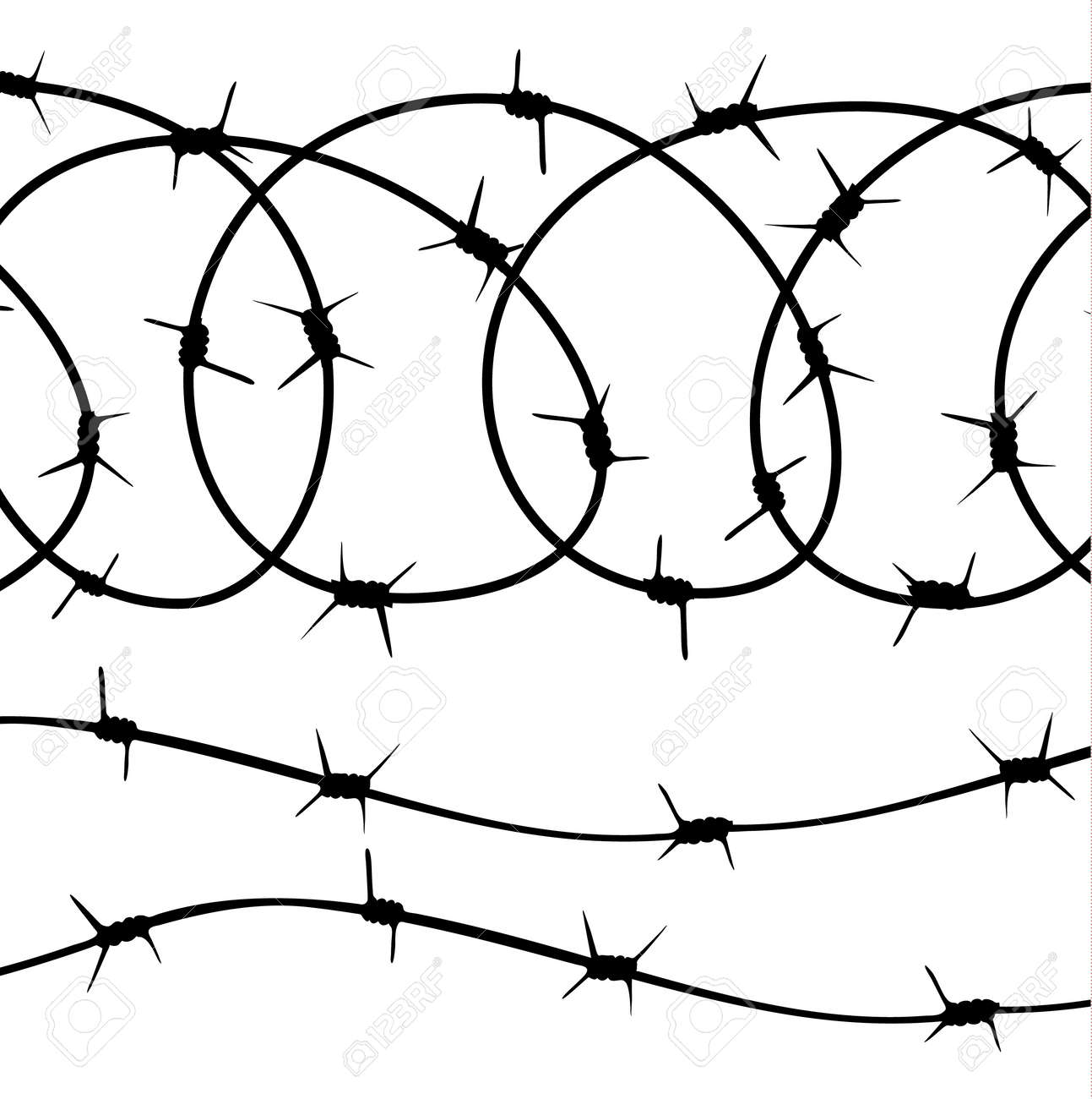 Barbed Wire Elements, Silhouette On White Background. Vector ...