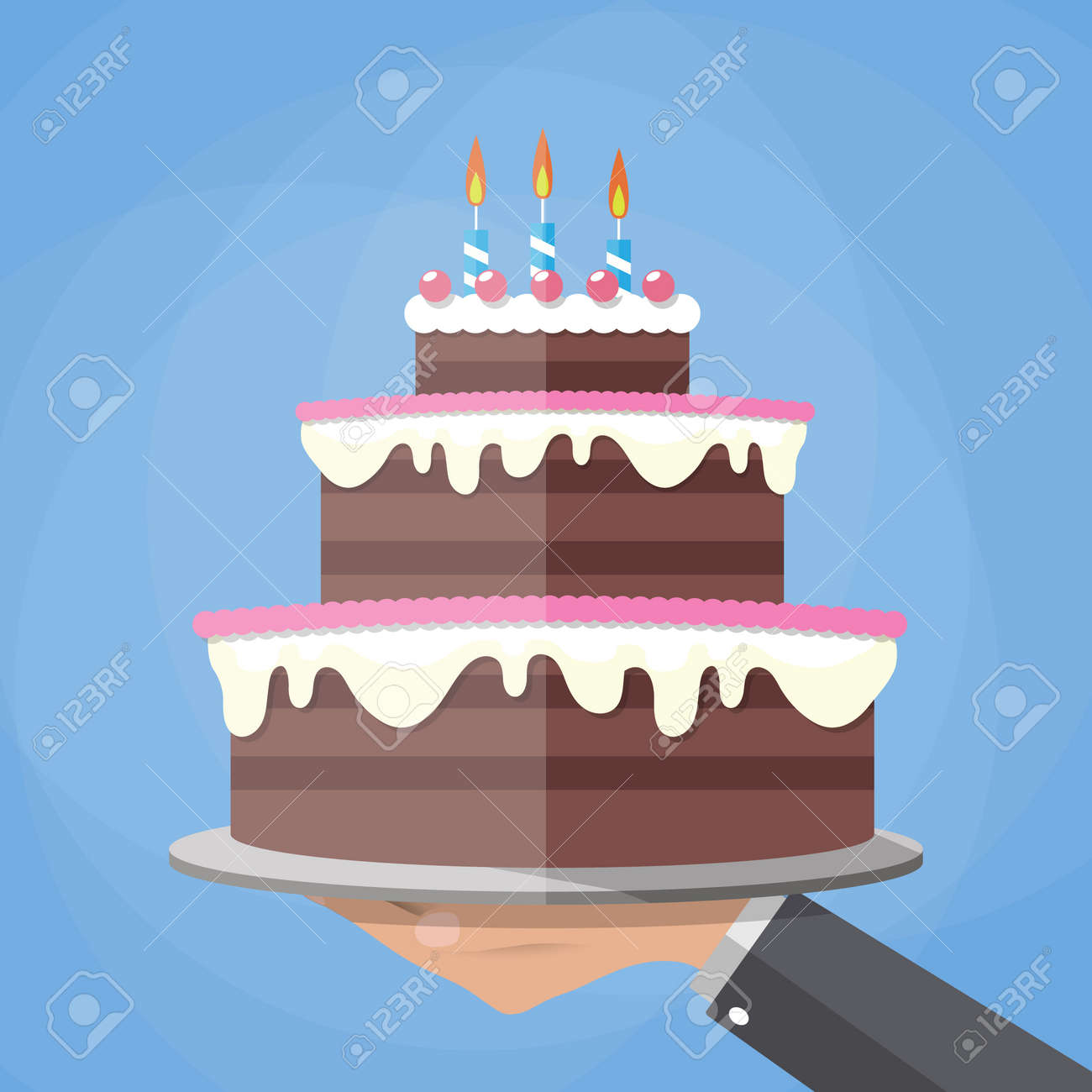 Cartoon Hands Holding Chocolate Layer Cake Decorated With Three
