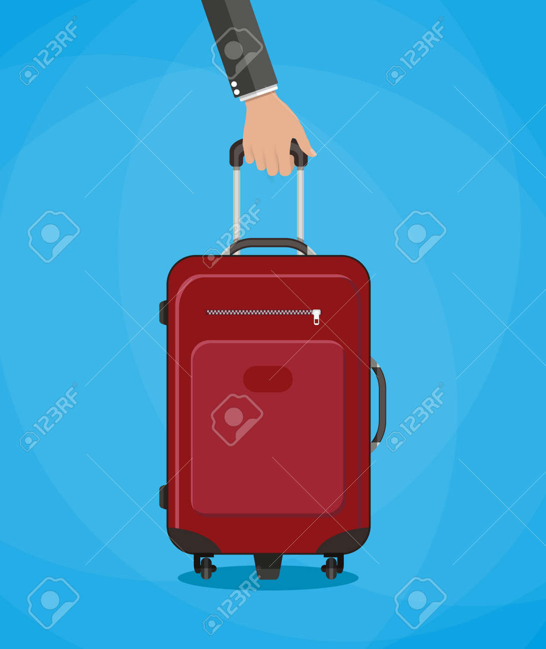 Hand Holding Red Travel Bag Vector Illustration On Blue Background Royalty Free Cliparts Vectors And Stock Illustration Image 52224439