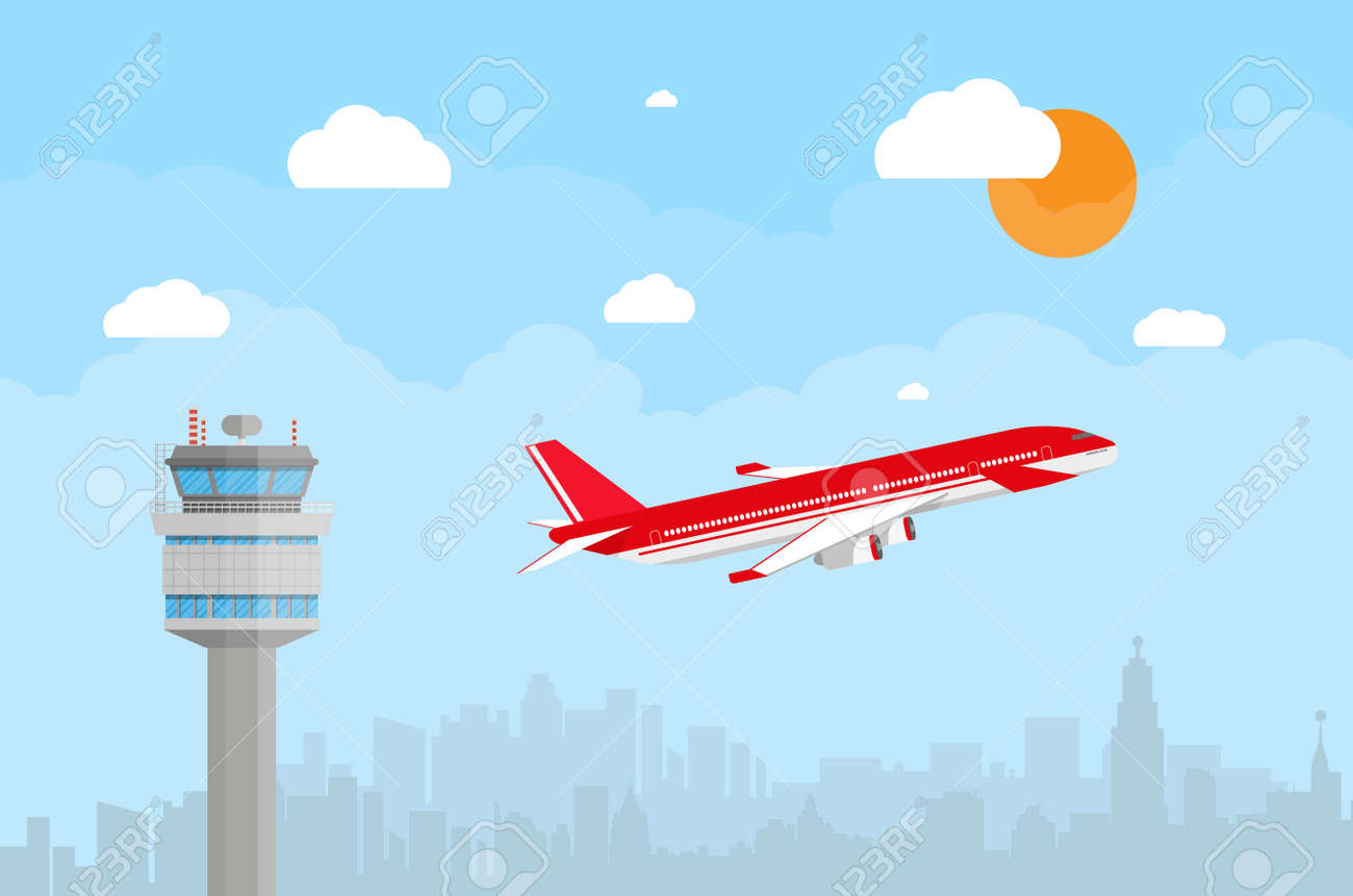 cartoon background with gray airport control tower and flying rh 123rf com Cartoon Bus Cartoon Airplane Flying