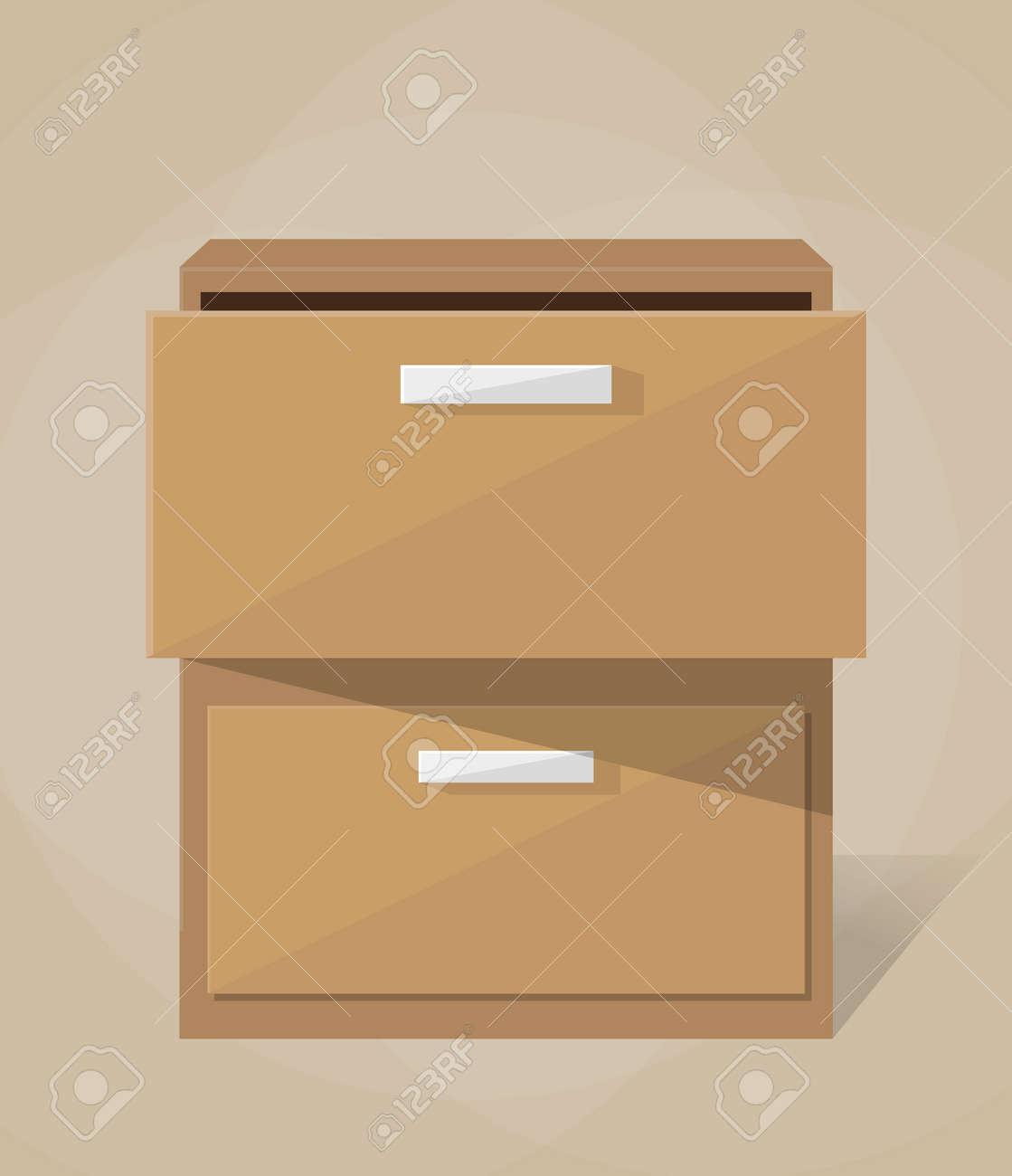 Archivador Archivo De Oficina De Madera Marrón. Mueble. Ilustración ...
