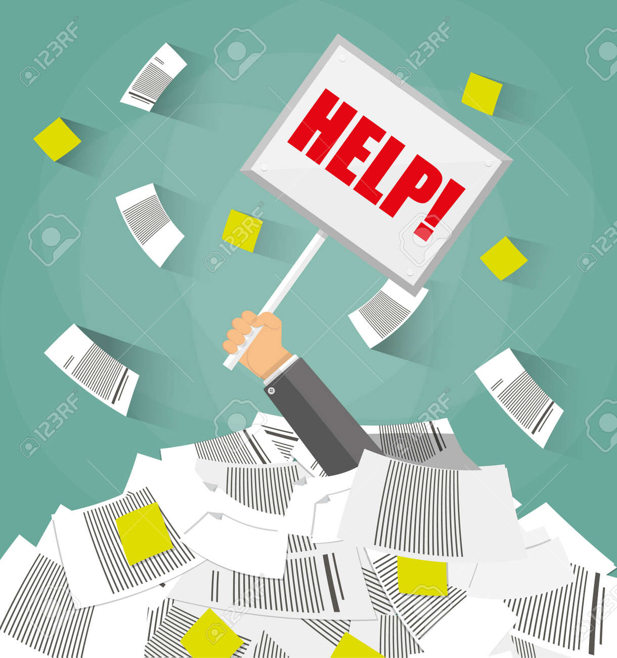 stressed cartoon businessman in pile of office papers and  stressed cartoon businessman in pile of office papers and documents help sign stress at
