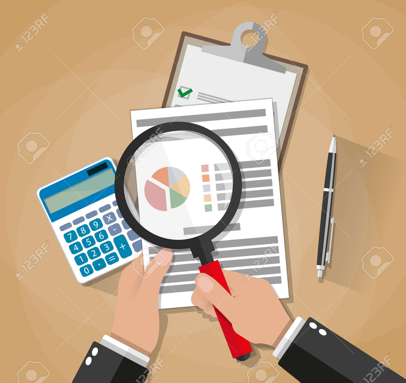 Cartoon businessman hands with magnifier analysis paper sheet, calculator, pen. auditing tax, financial market analysis, seo, financial report. vector illustration in flat design on brown background - 55002989