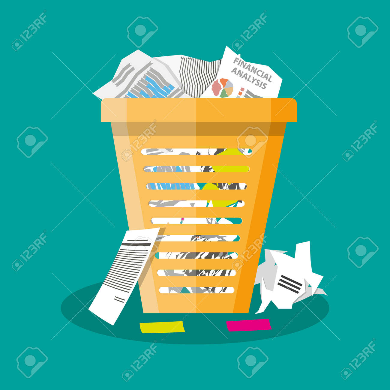 Cartoon office trash recycle bin for garbage. Bin for papers. Vector illustration in flat design on green background - 55002995