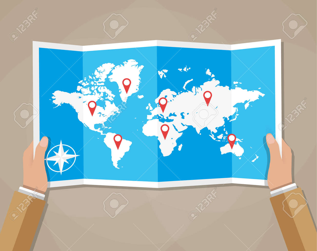 Cartoon hands hold folded paper map of world with color point cartoon hands hold folded paper map of world with color point markers world map countries gumiabroncs Image collections