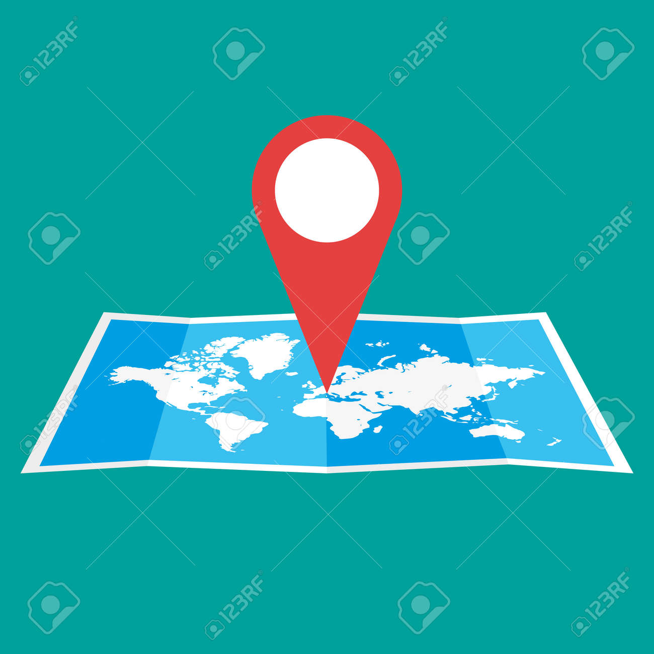 Navigation geolocation icon folded paper world map with red folded paper world map with red pin vector illustration in flat gumiabroncs Choice Image