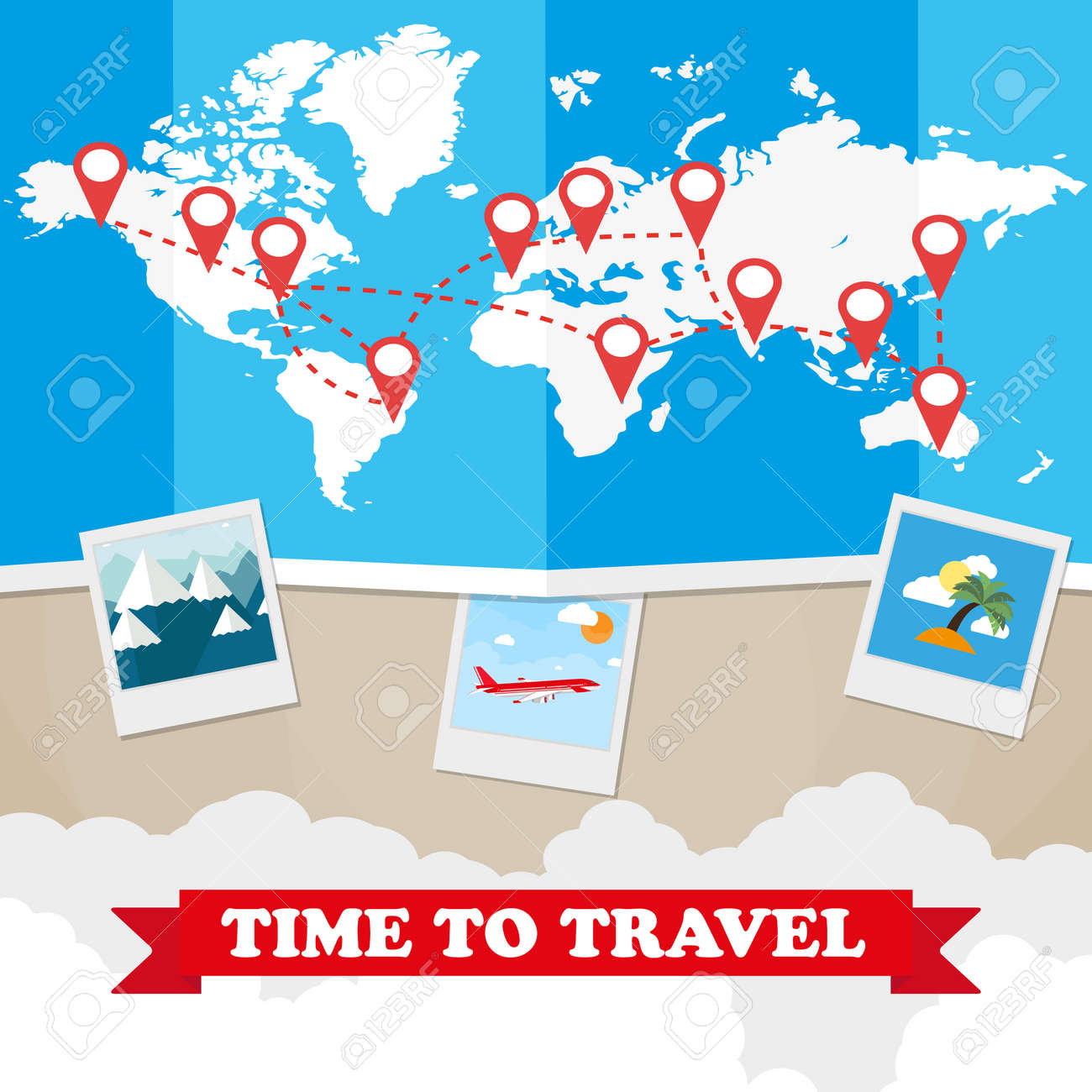 Weltkarte Mit Routen Flugzeug, Instant-Bilderrahmen, Wolken Mit ...