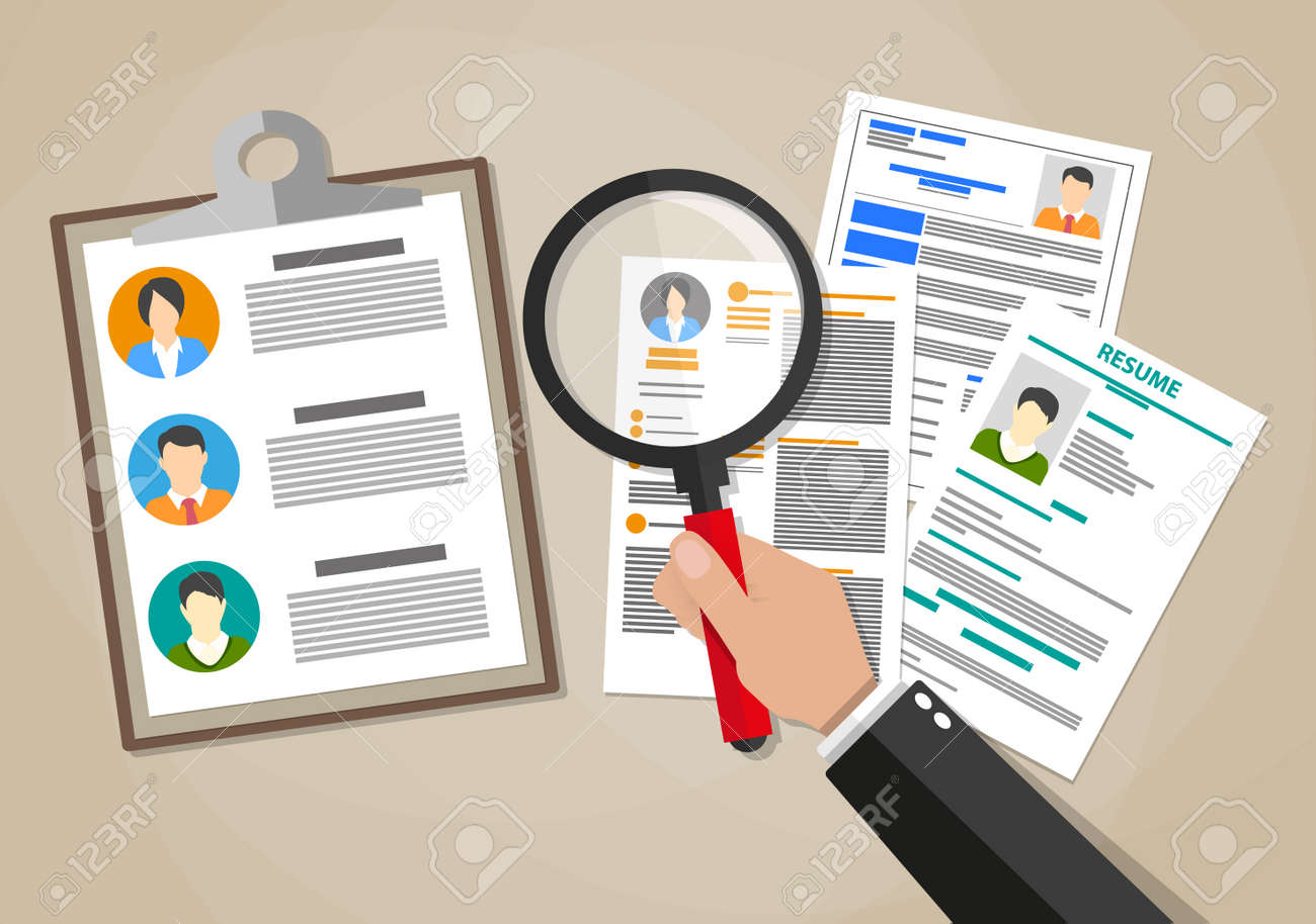 Human resources management concept, searching professional staff, work, hand with magnifying glass analyzing resume, documents papers. illustration in flat design on brown background - 57606123