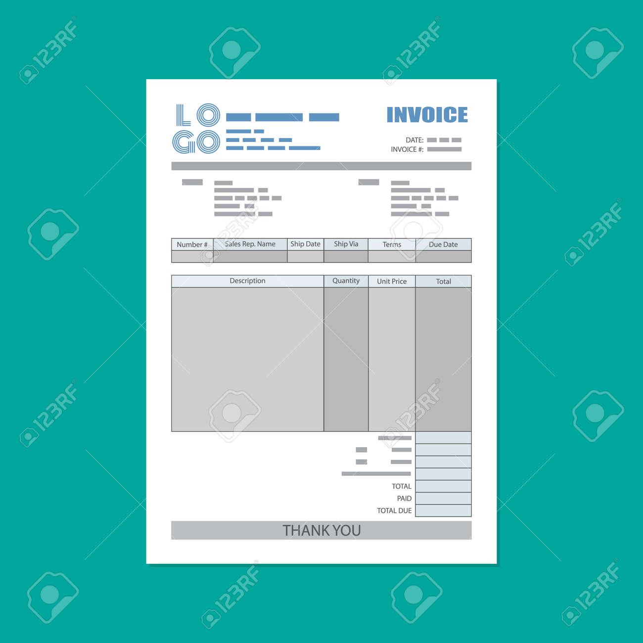 unfill paper invoice form tax receipt bill vector illustration