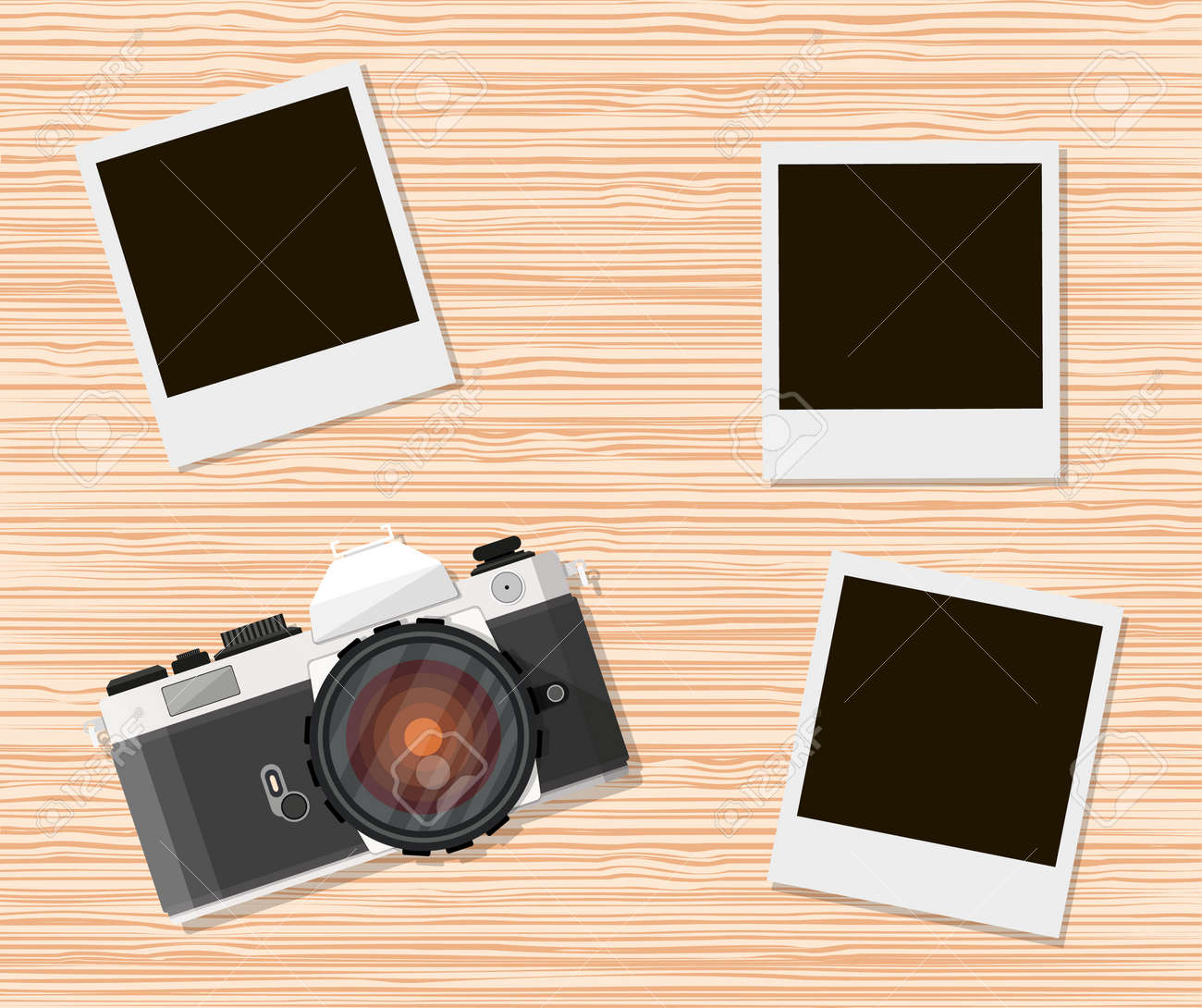 Retro Old Camera And Instant Photo Frames On Wooden Background ...