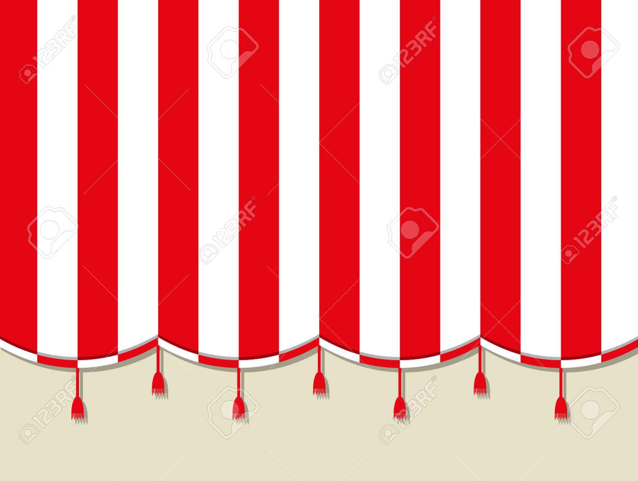 Blanc Rouge Théâtre Cirque Rideau. Illustration Vectorielle Dans Un ...