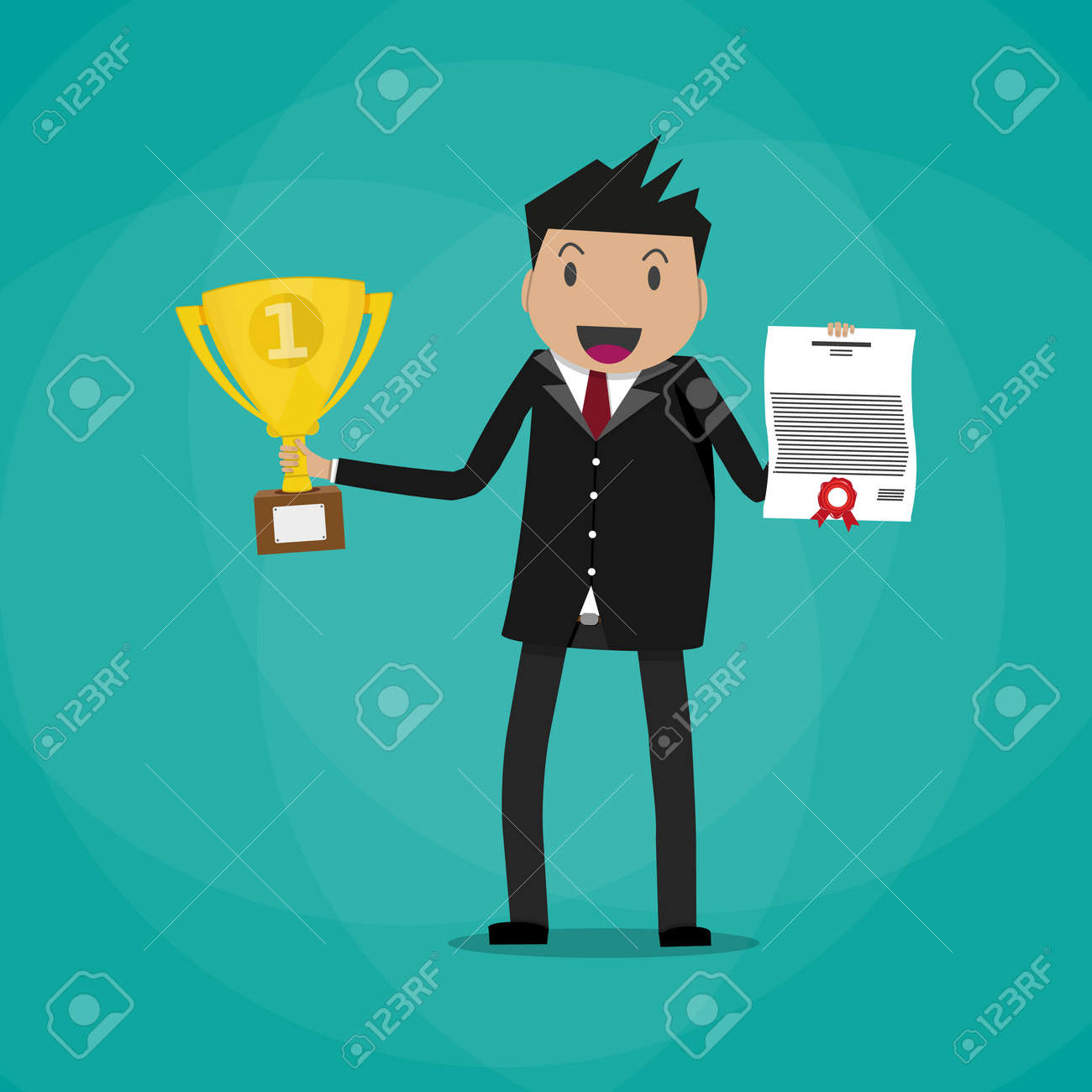 Happy cartoon businessman winner holding certificate and gold trophy cup. vector illustration in flat design on green background - 60261285