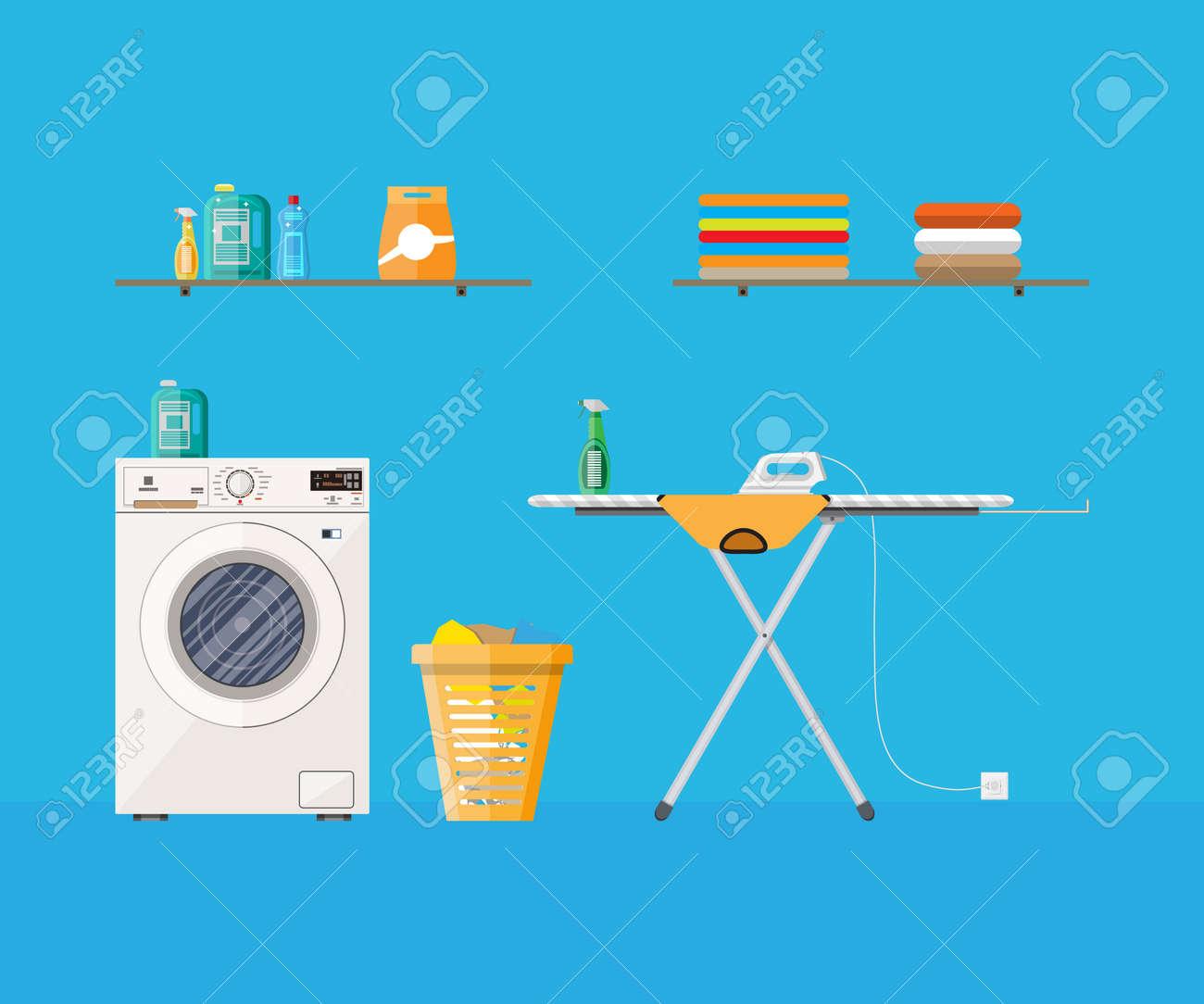 Nettoyer Machine À Laver Le Linge buanderie avec lave-linge, planche à repasser, penderie, nettoyage de la  chimie ménagère, de la poudre de lavage et le panier. illustration
