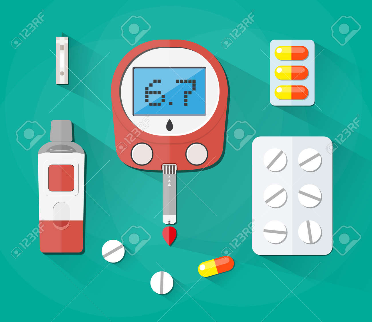 Blood Glucose Test, test strip and pills, Diabetes set. vector illustration  in flat