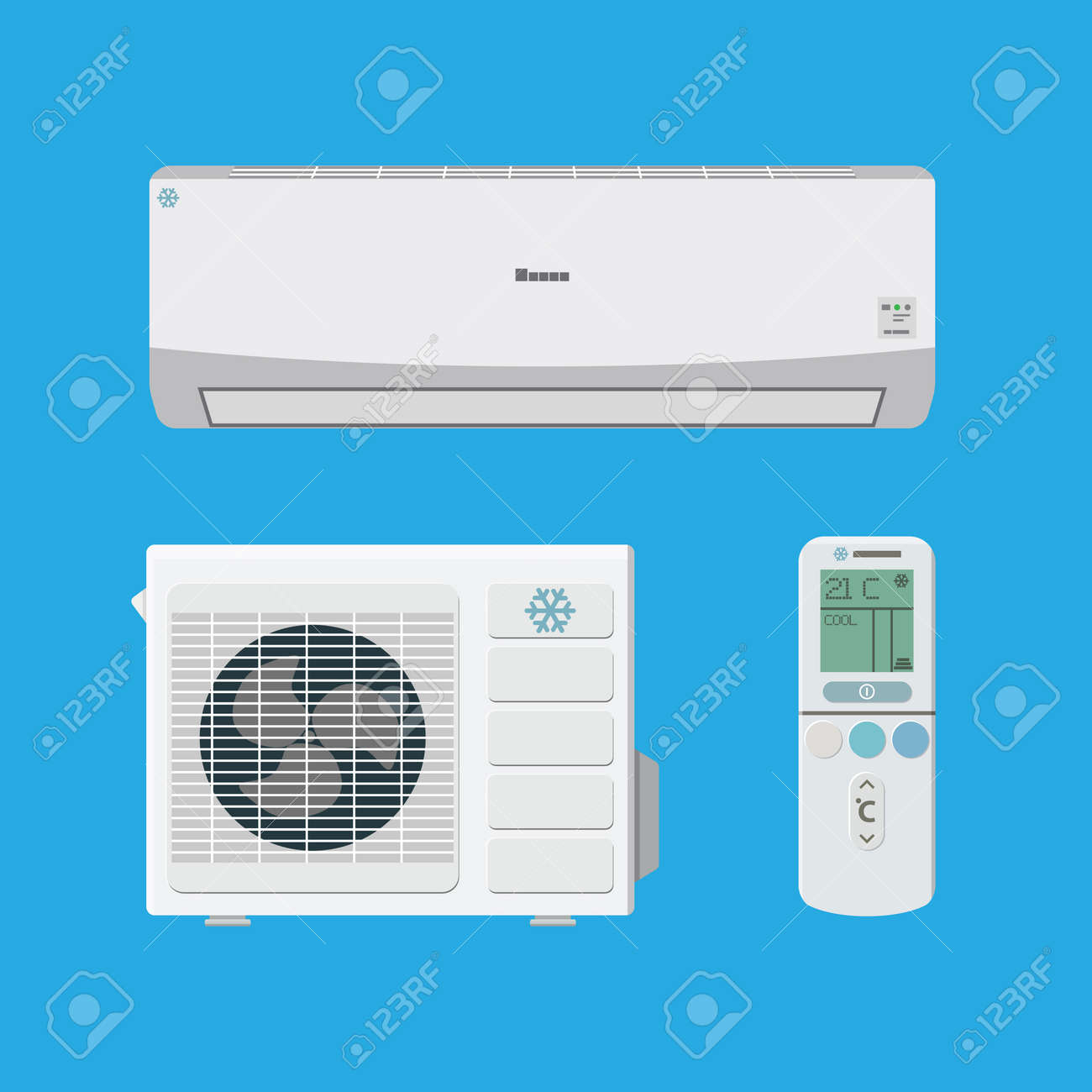 Air Conditioner System. External And Internal Unit And Remote Control.  Vector Illustration In Flat