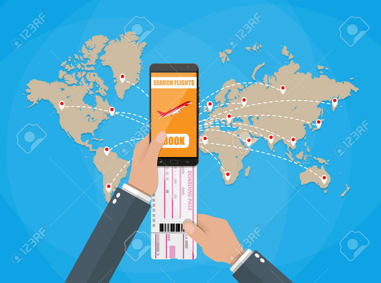 Online booking for airplane tickets  Human hand with mobile phone