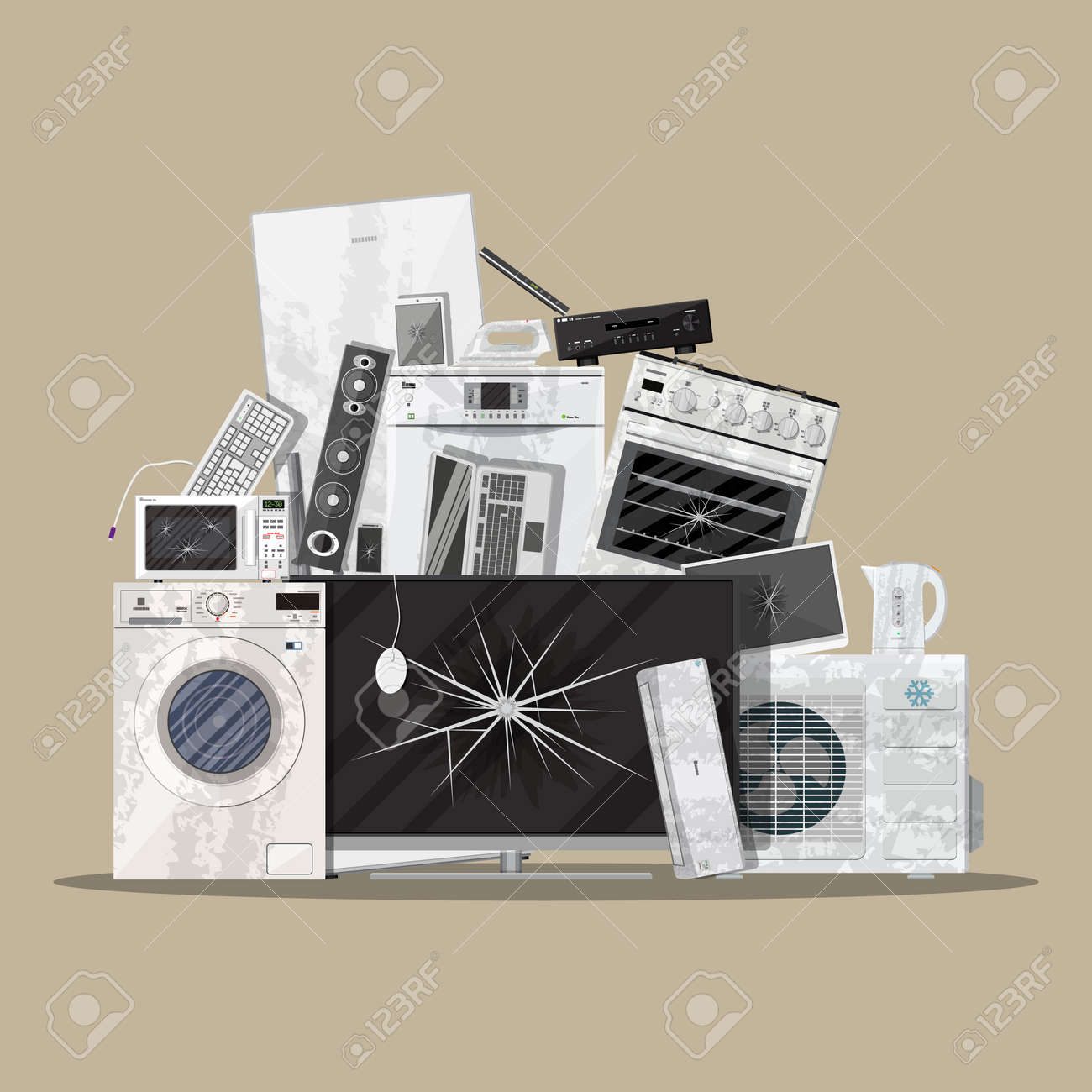 E-waste Electrical And Electronic Equipment Pile. Computer And ...