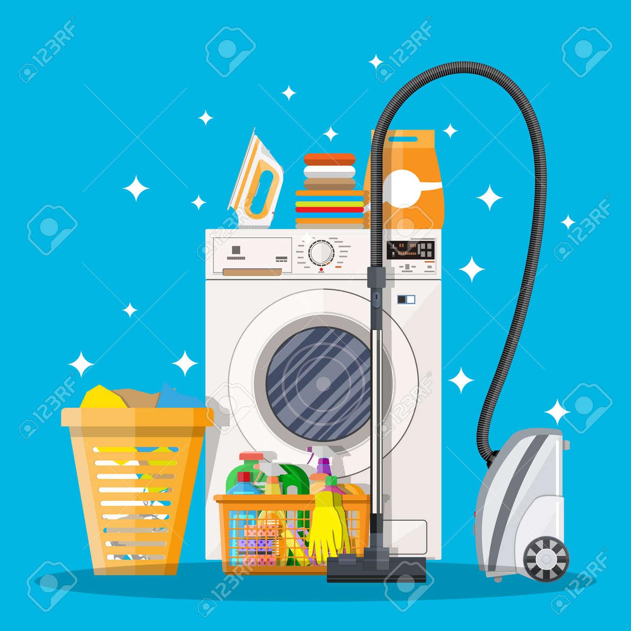 Nettoyer Machine À Laver Le Linge kit de nettoyage. lave-linge, une éponge, un seau, des produits de  nettoyage en bouteille pour le plancher et le verre, des gants en  caoutchouc,