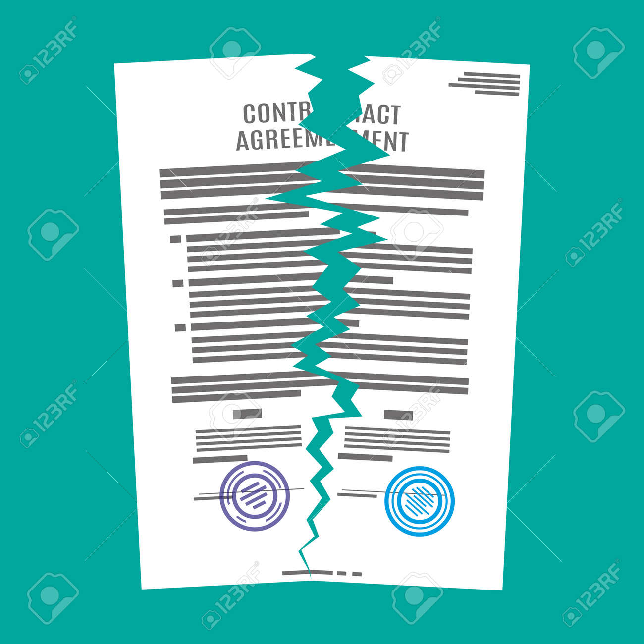Attractive Torn In Half Contract Document. Contract Termination Concept. Vector  Illustration In Flat Design Stock