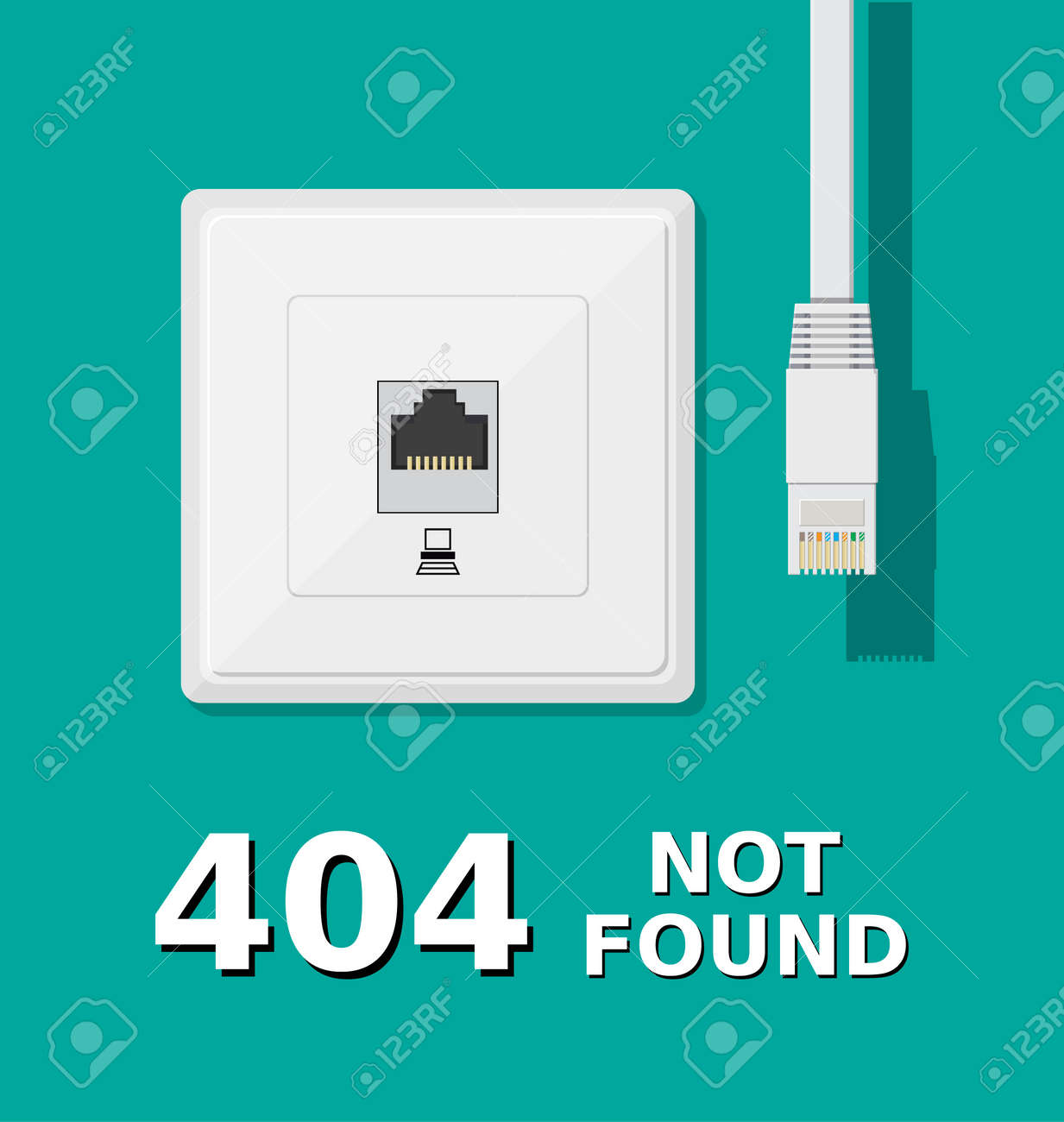 Error 404. Network socket and unplugged patch cord. Page not found. Vector illustration in flat style - 72210519