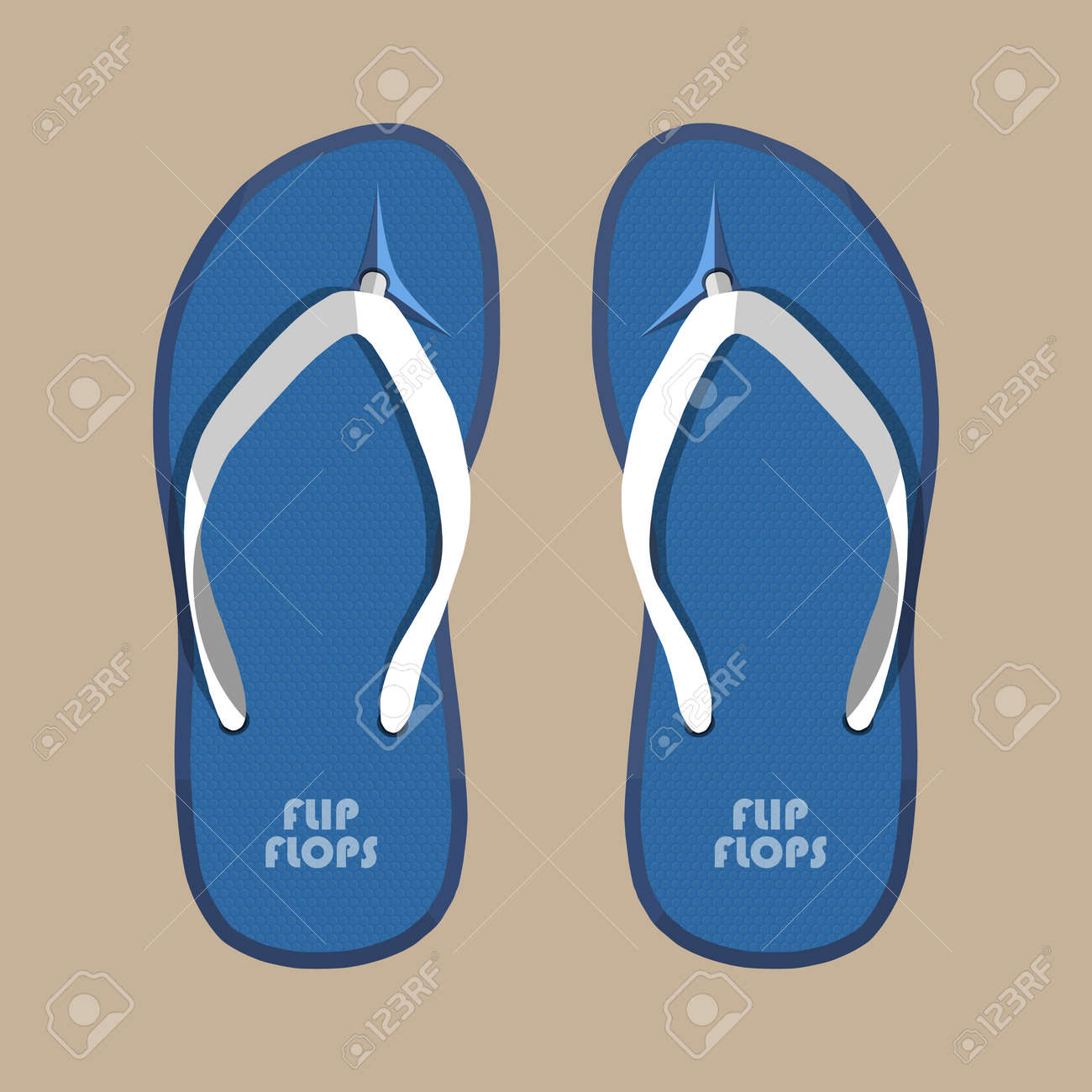 2184b47f50444 Pair of blue summer flip flops rubber shoes. Vector illustration in flat  style Stock Vector
