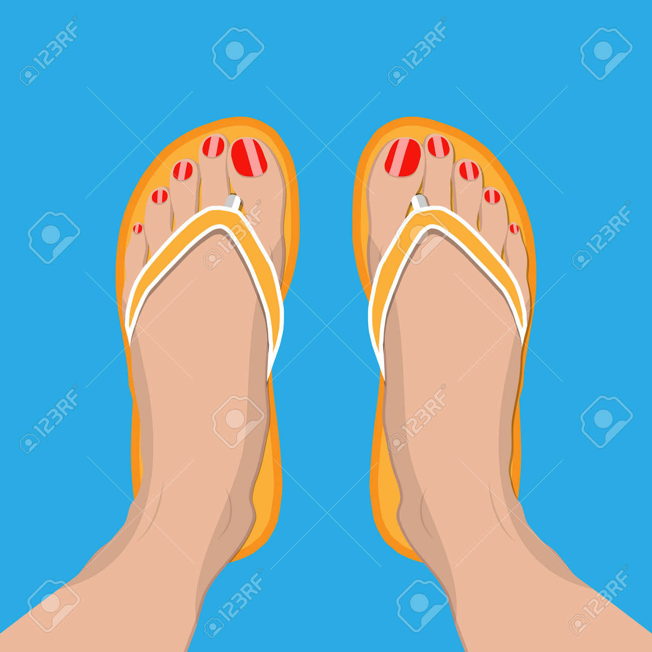 16b86fabb1d8 Female feet with red pedicure in summer flip-flops. Woman in slippers.  Vector