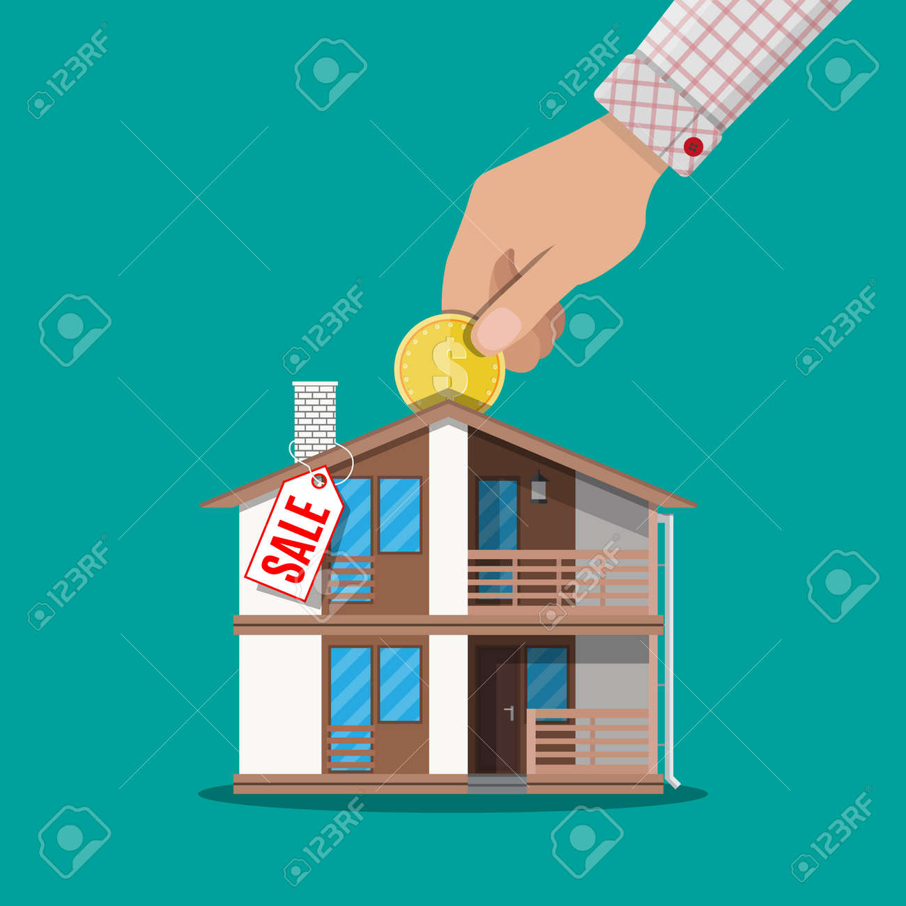 Hand Put Coin In Piggy Bank House With Price Tag Real Estate