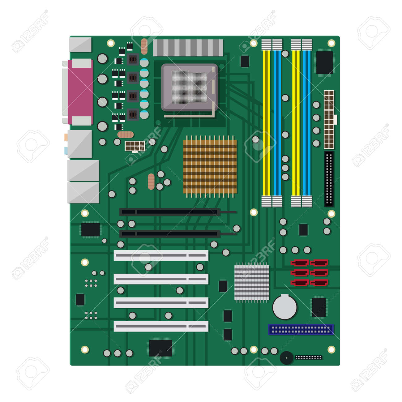 Motherboard Isolated On White. PC Hardware. Components For Personal ...