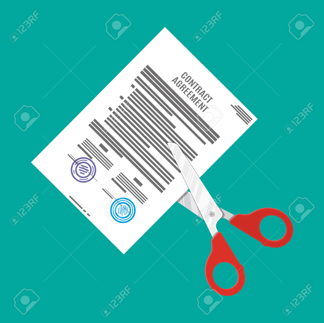 Beautiful Scissors Cutting Contract Document. Contract Termination Concept. Vector  Illustration In Flat Style Stock Vector