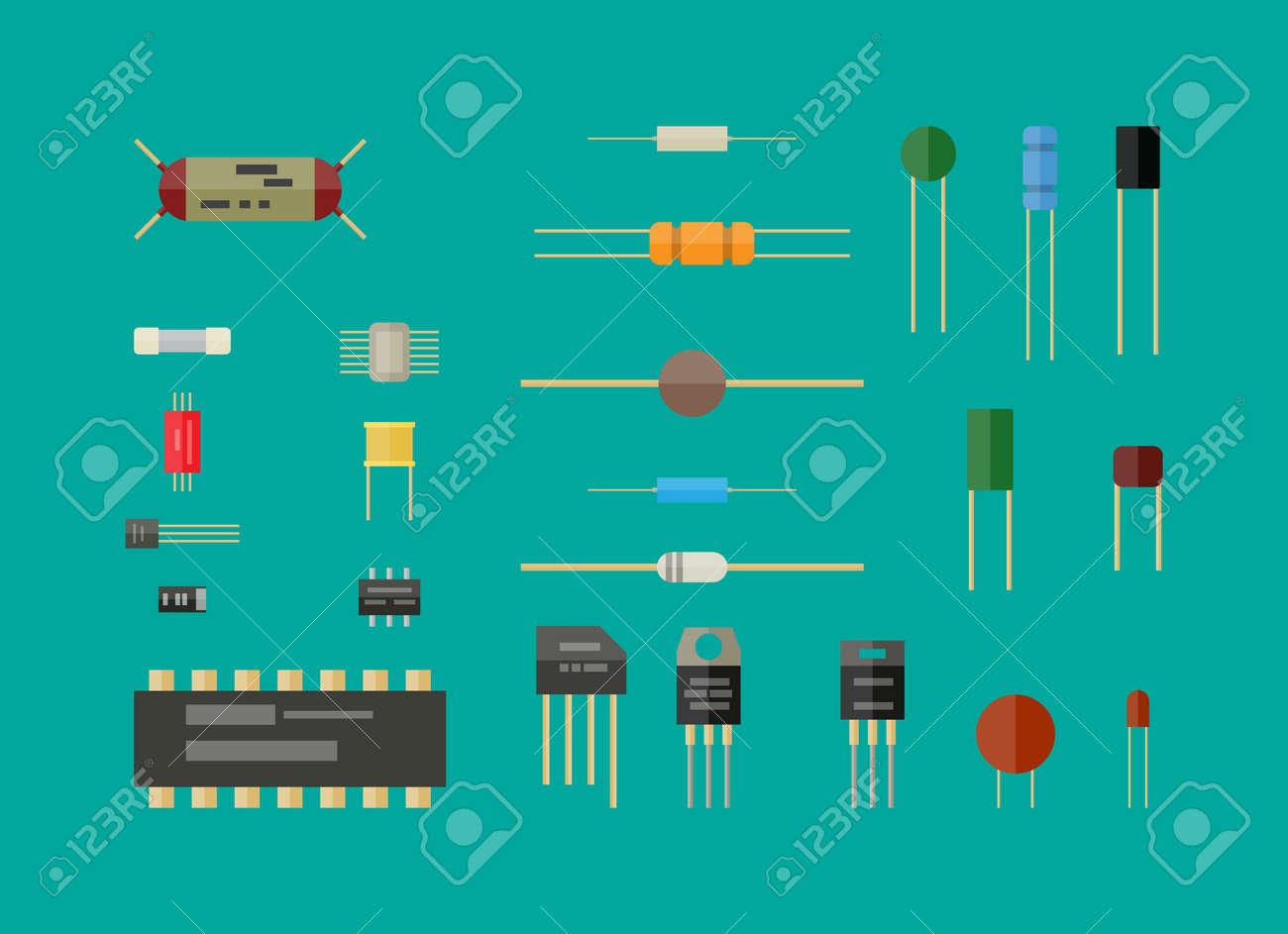 Resistance Capacitor And Transistor Circuits Modern Design Of Control Electronic Potentiometer Circuit Basiccircuit Components Set Resistor Rh 123rf Com Resistors