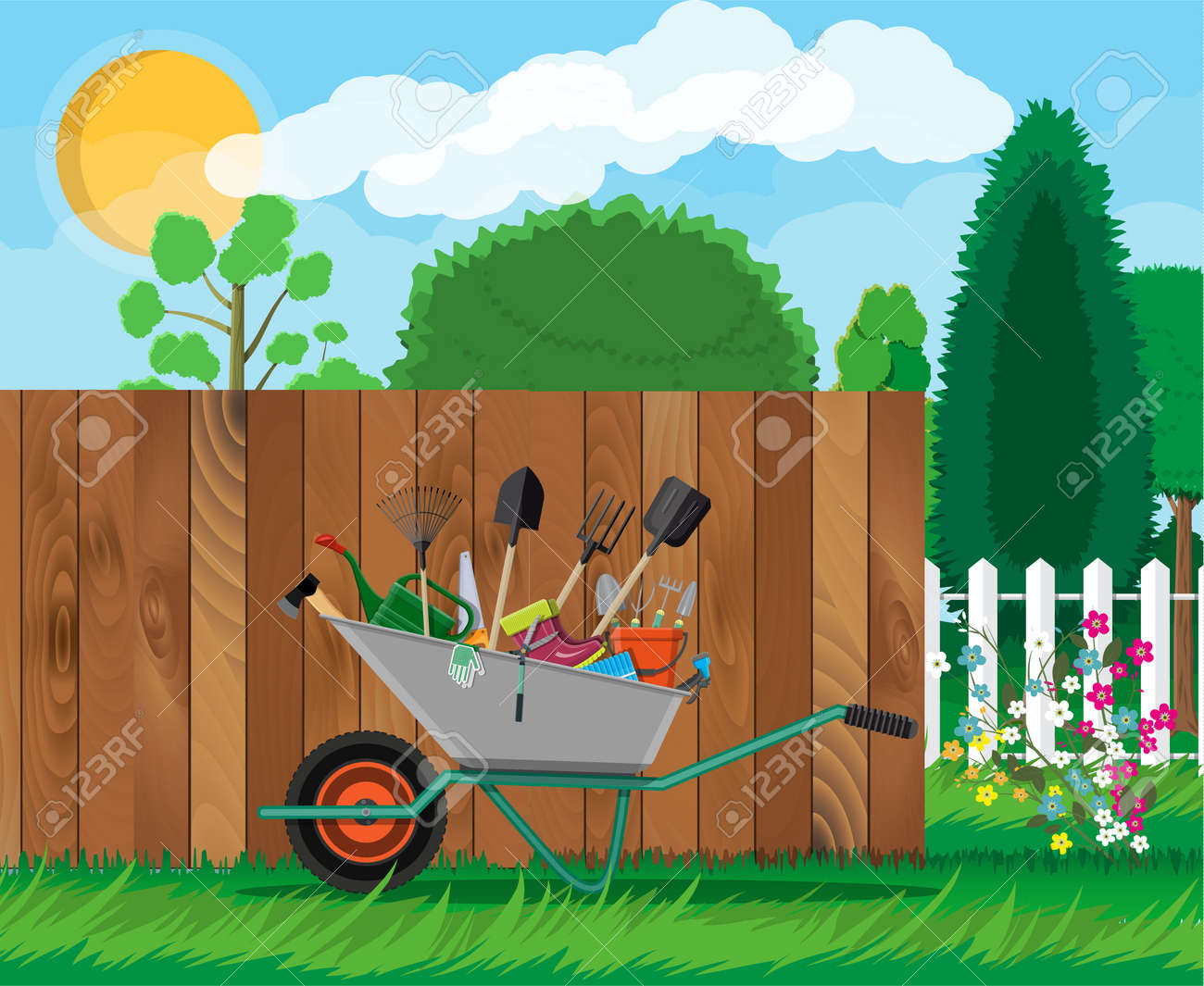 Gardening Tools Set. Equipment For Garden Royalty Free Cliparts ...