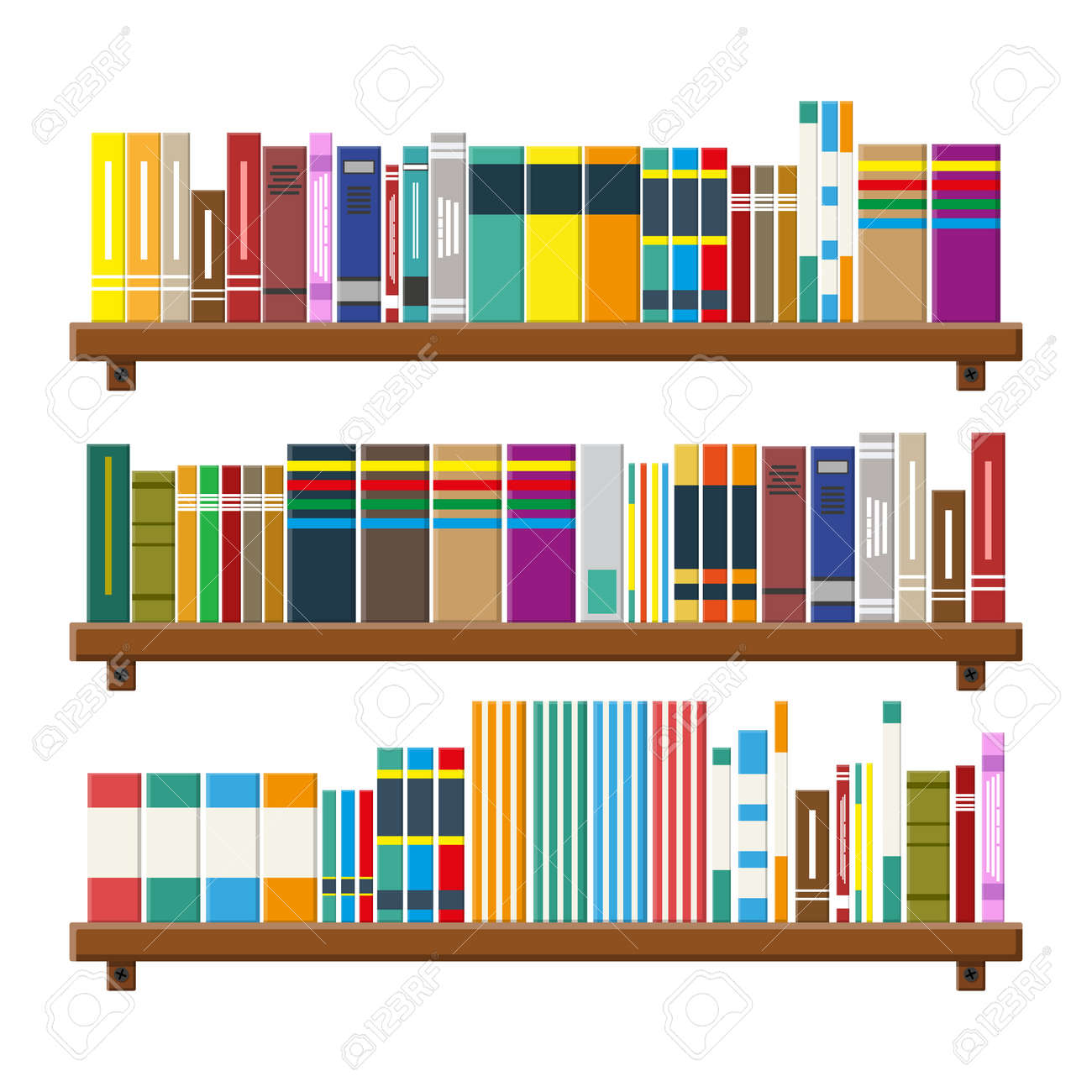 Library Wooden Book Shelf Bookcase With Different Books Vector