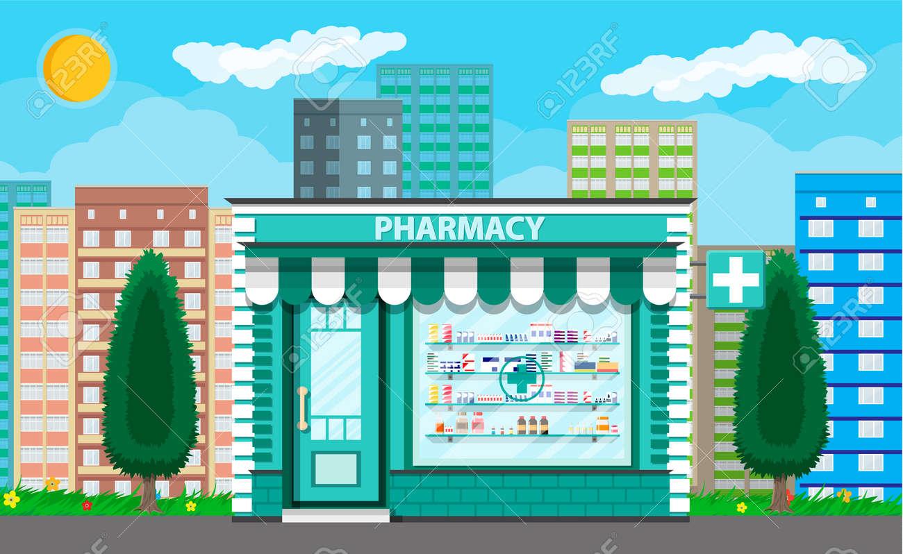 Modern exterior pharmacy or drugstore. - 81523947