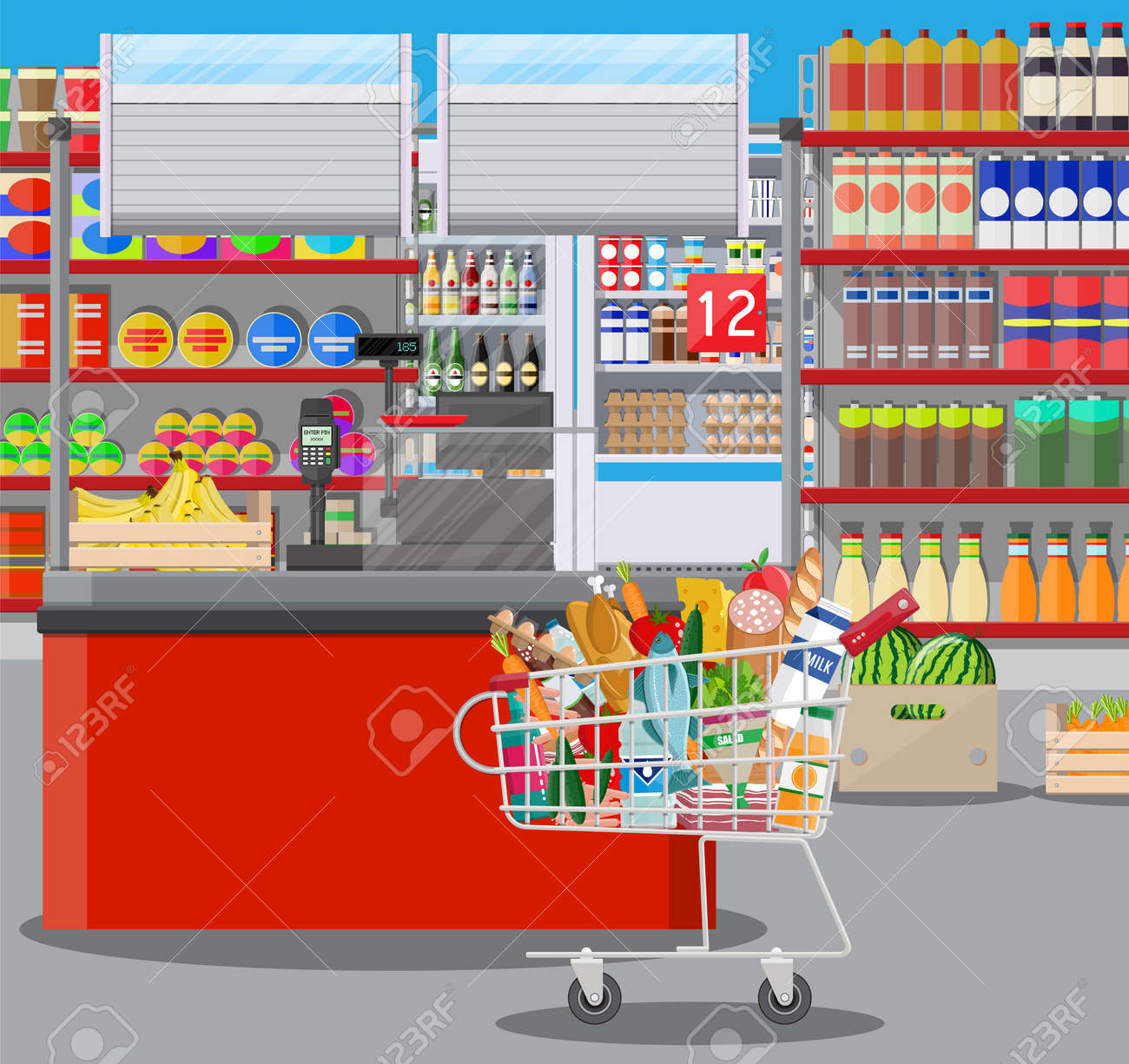 Supermarket store interior with goods. Big shopping mall. Interior store inside. Checkout counter, grocery, drinks, food, fruits, dairy products. Vector illustration in flat style - 83887533