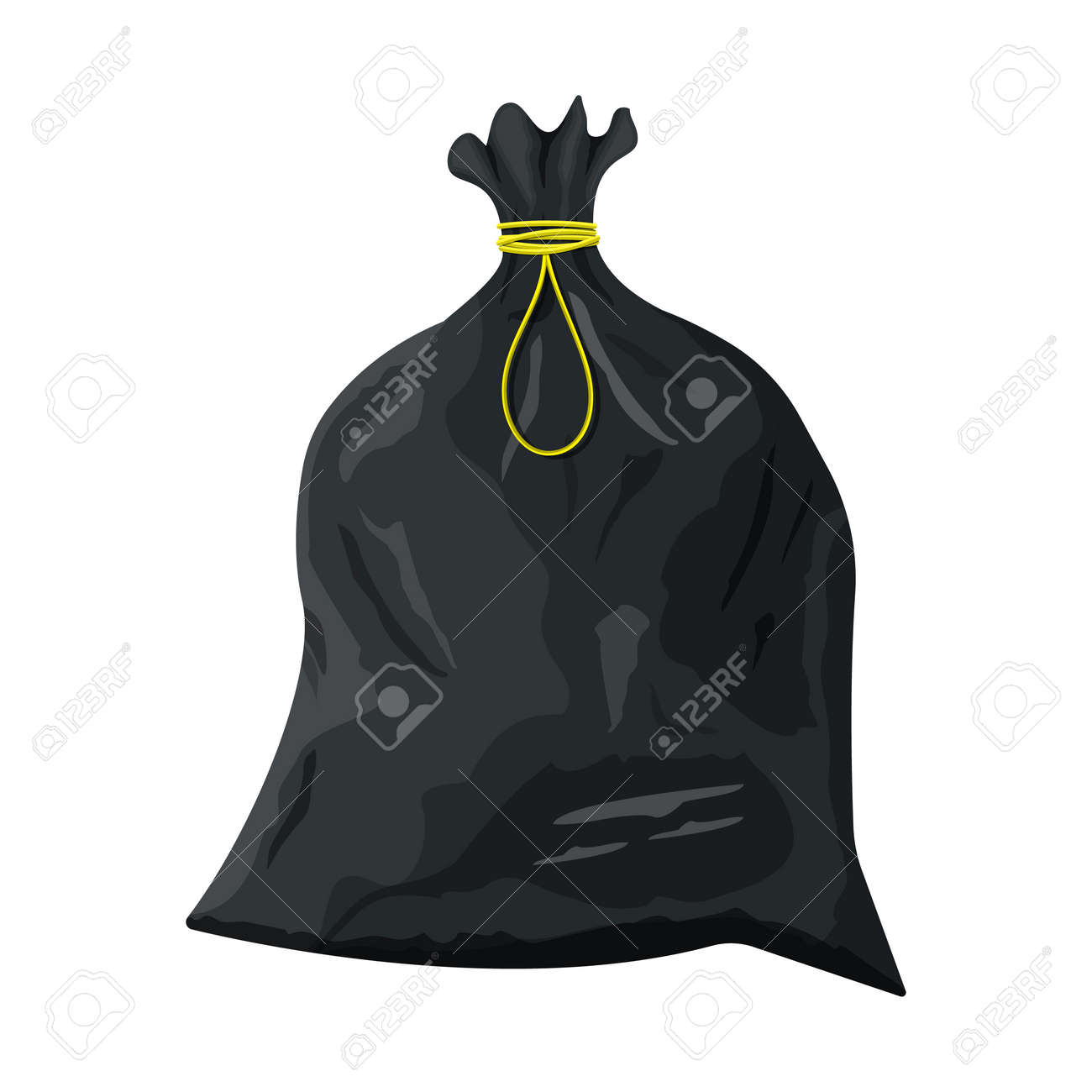 Plastic garbage bag with rope icon. - 84951577